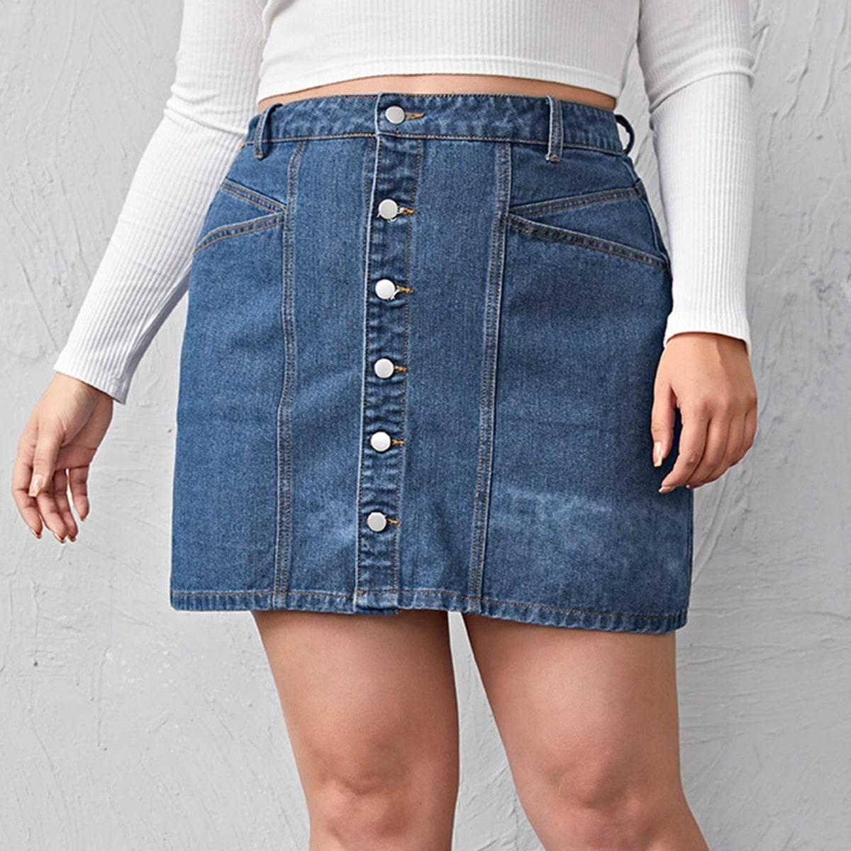 С карманами одноцветный джинсовые юбки размер плюс