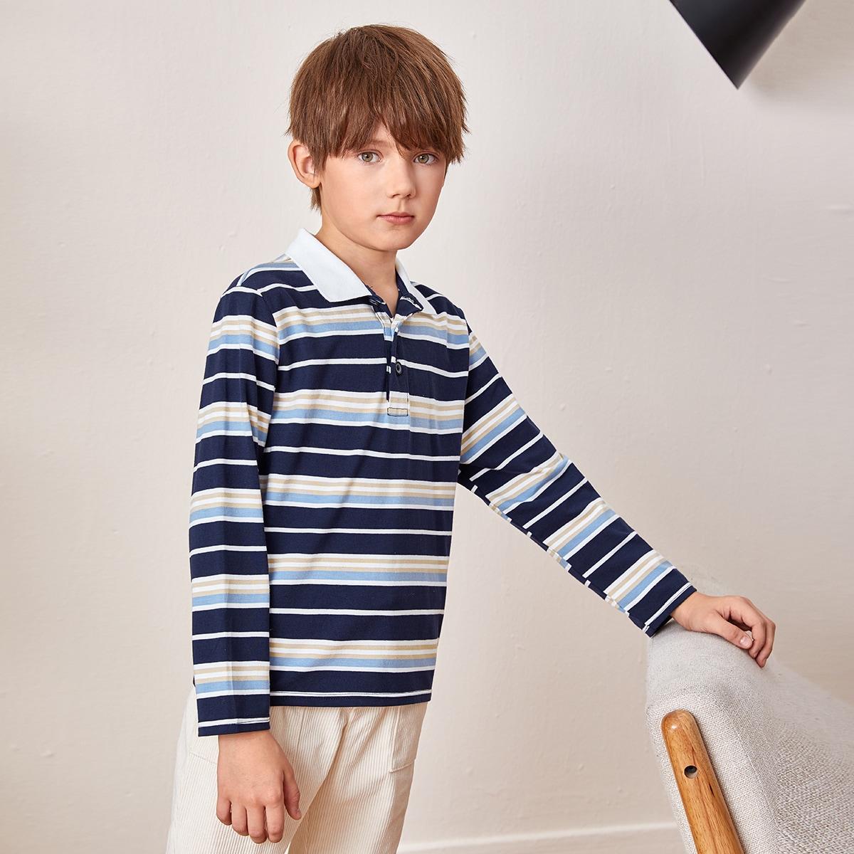 Пуговица полосатый повседневный рубашки поло для мальчиков