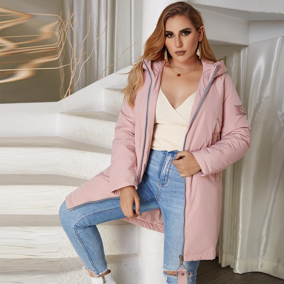 Astrid Стеганое пальто на молнии с капюшоном размера плюс