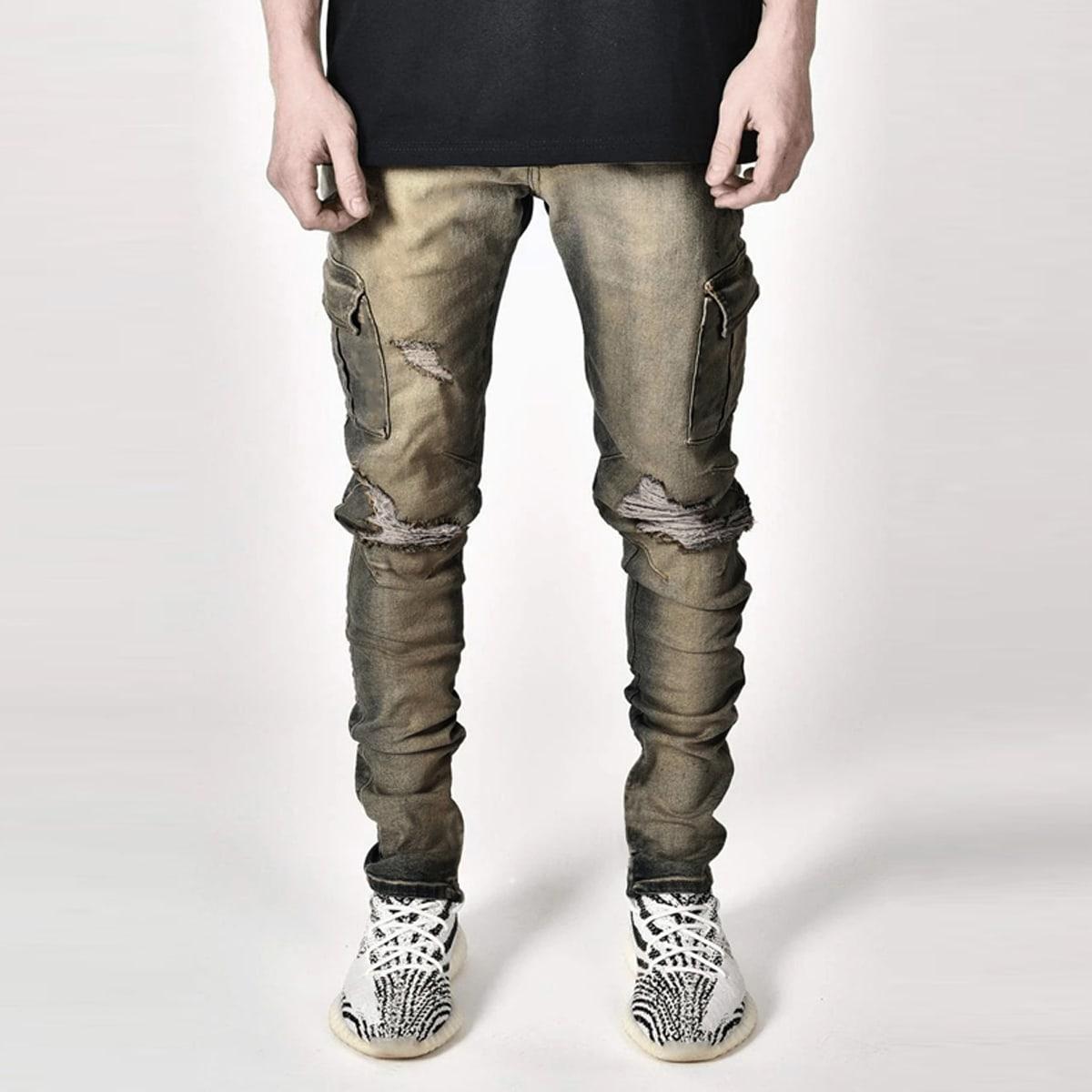 Карман контрастный улица мужские джинсы