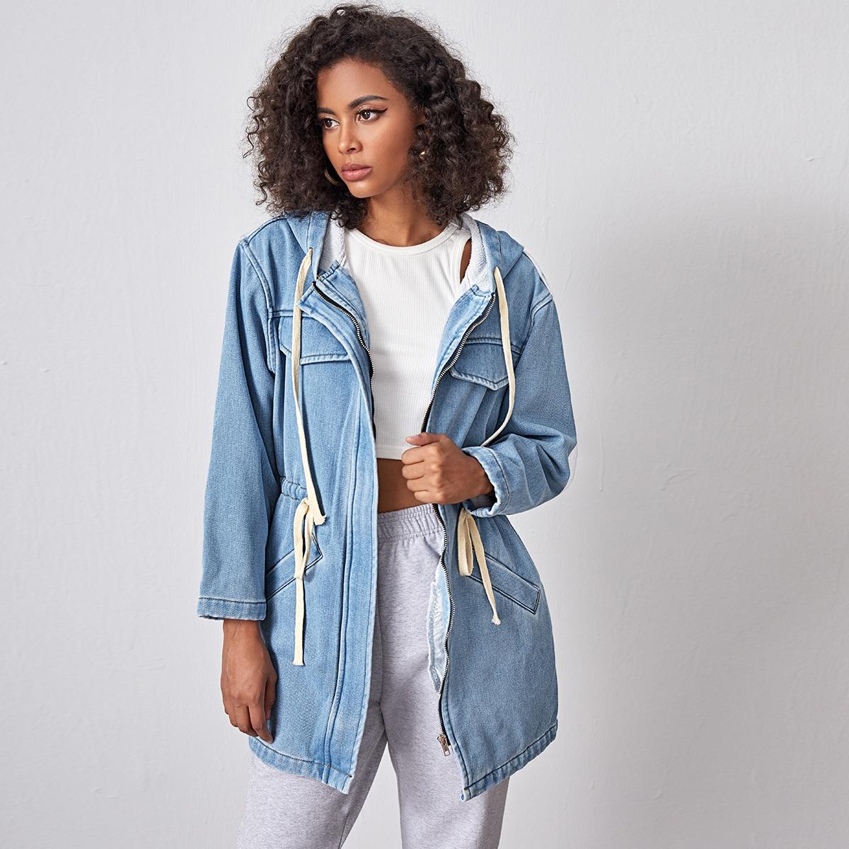 Джинсовая куртка с капюшоном на кулиске