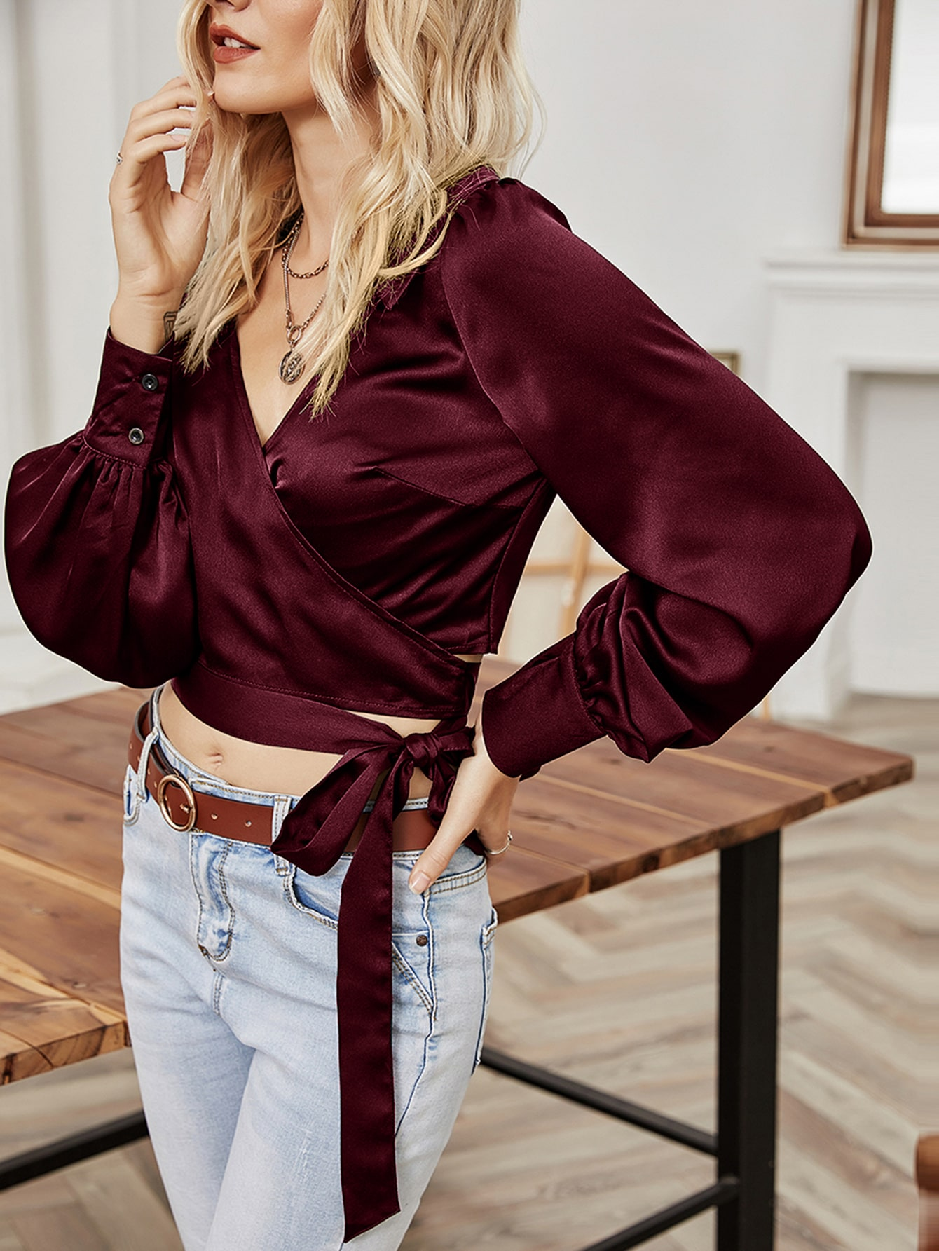 solid puff sleeve belted wrap satin blouse