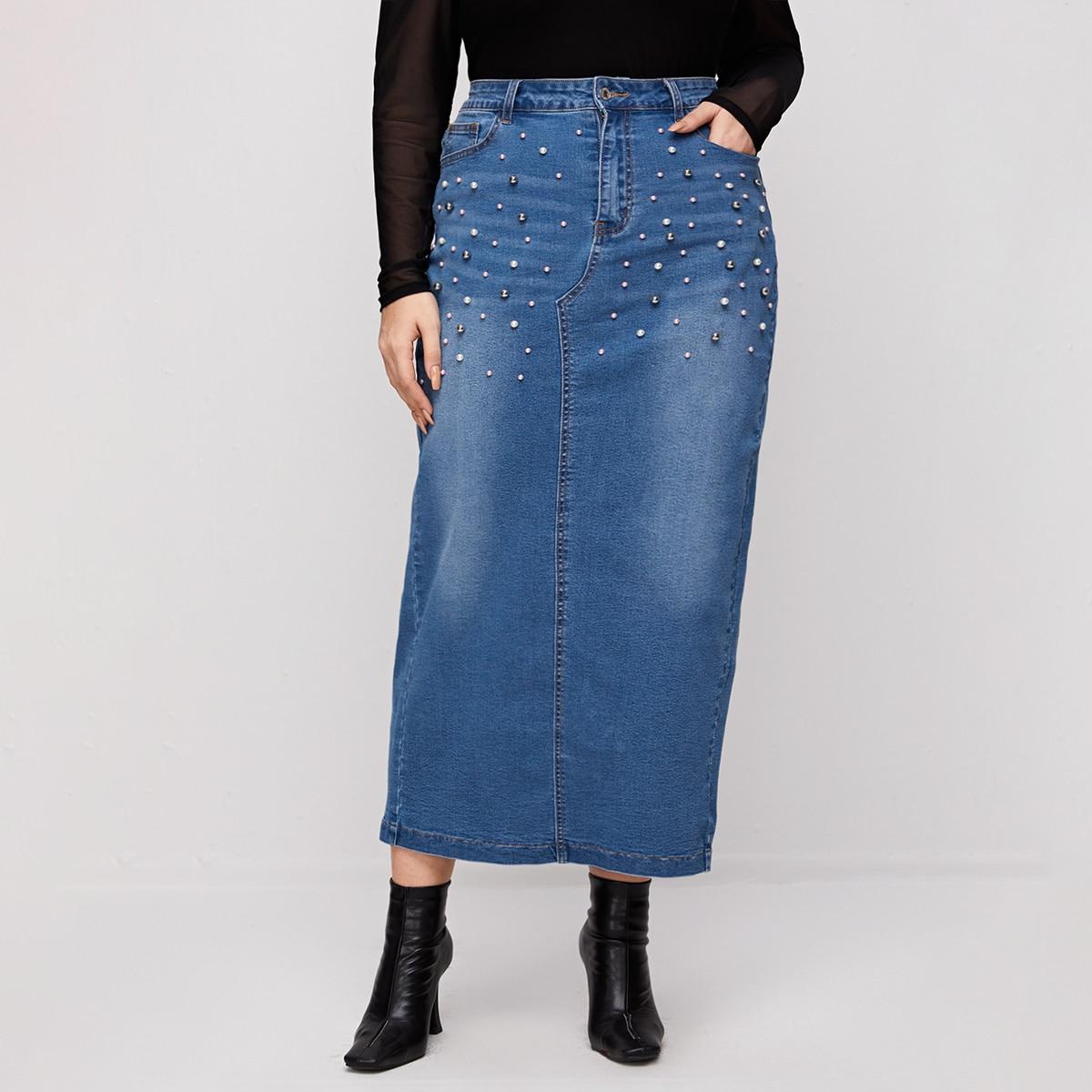 С бисером одноцветный повседневный джинсовые юбки размер плюс