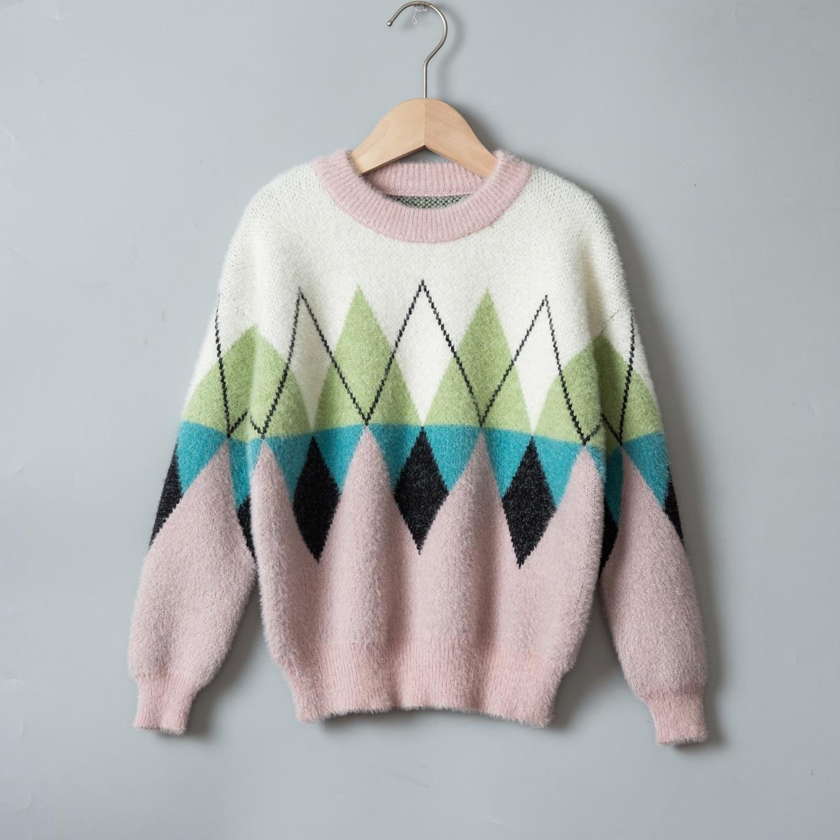 Геометрический повседневный свитера для девочек