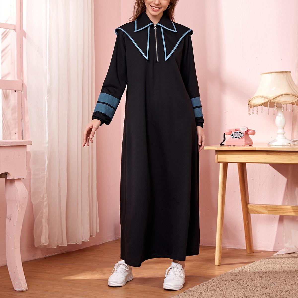 На молнии полосатый повседневный арабская одежда