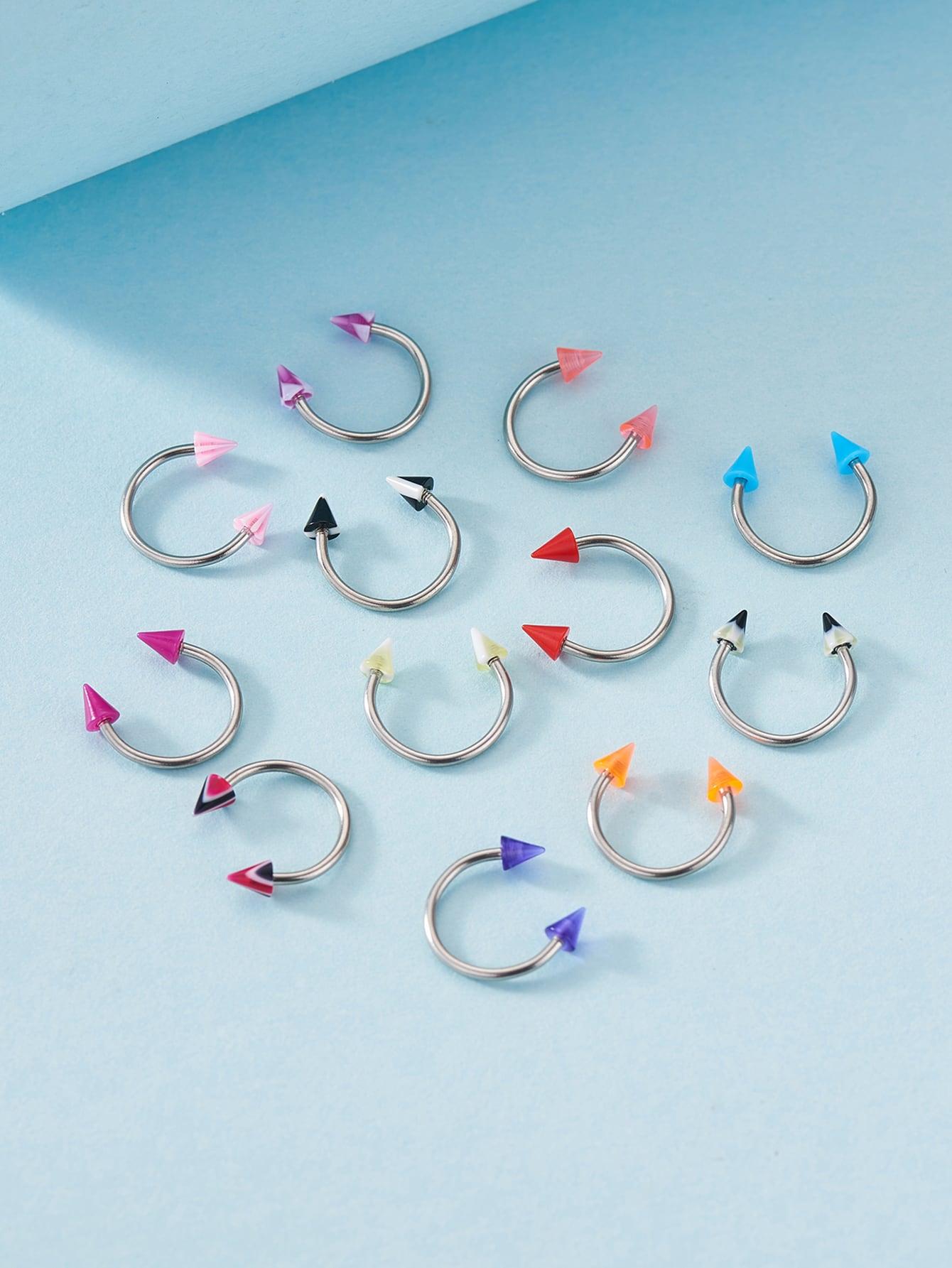 12pcs Random Color Labret Lip Ring thumbnail