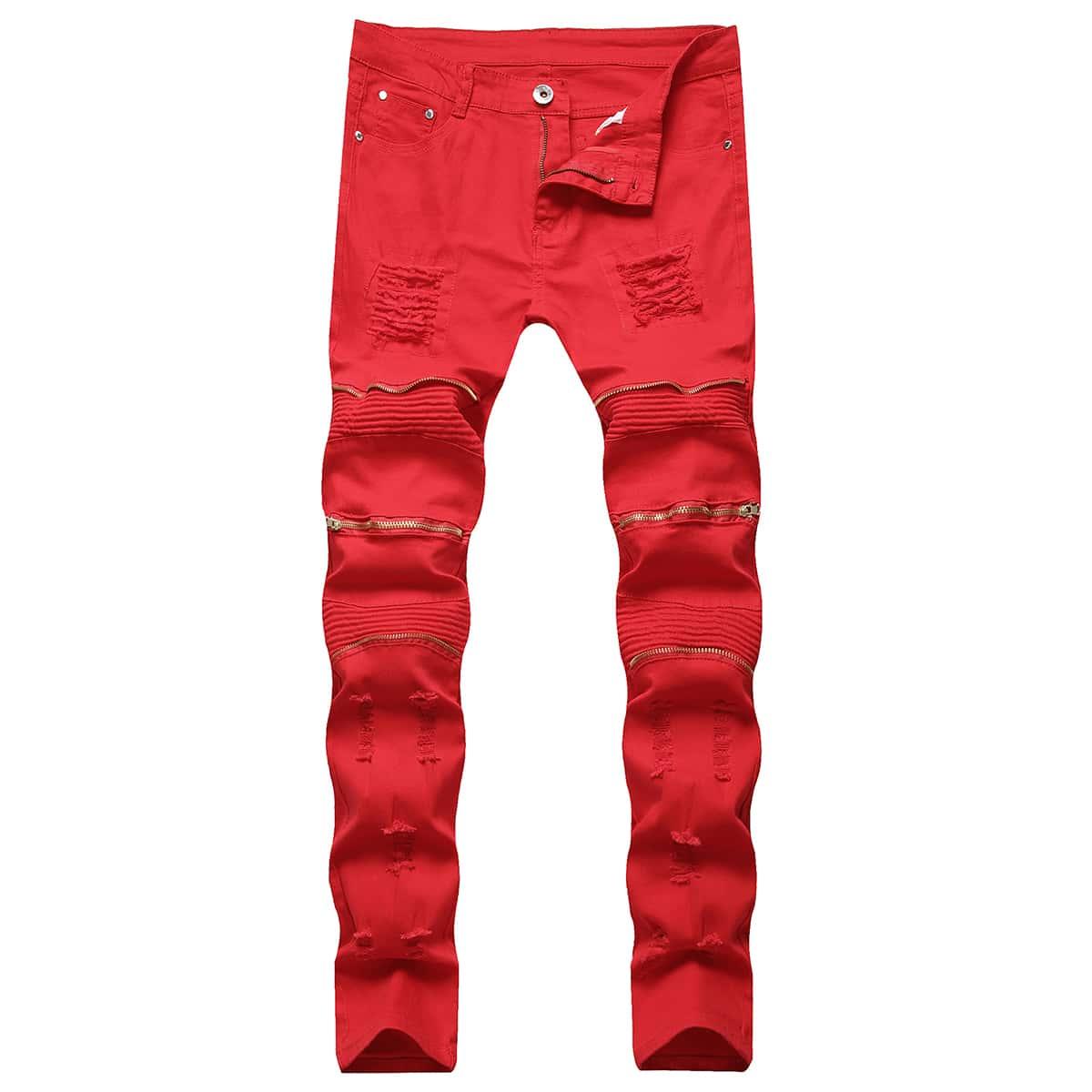Застежка одноцветный улица мужские джинсы