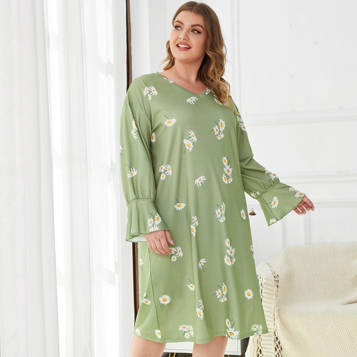Ночная рубашка plus daisy с цветочным принтом и воланами на рукавах