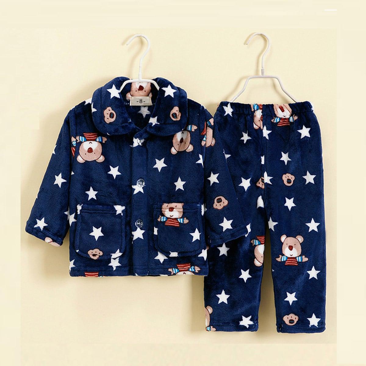 Пуговица Геометрический принт милый Домашняя одежда для мальчиков