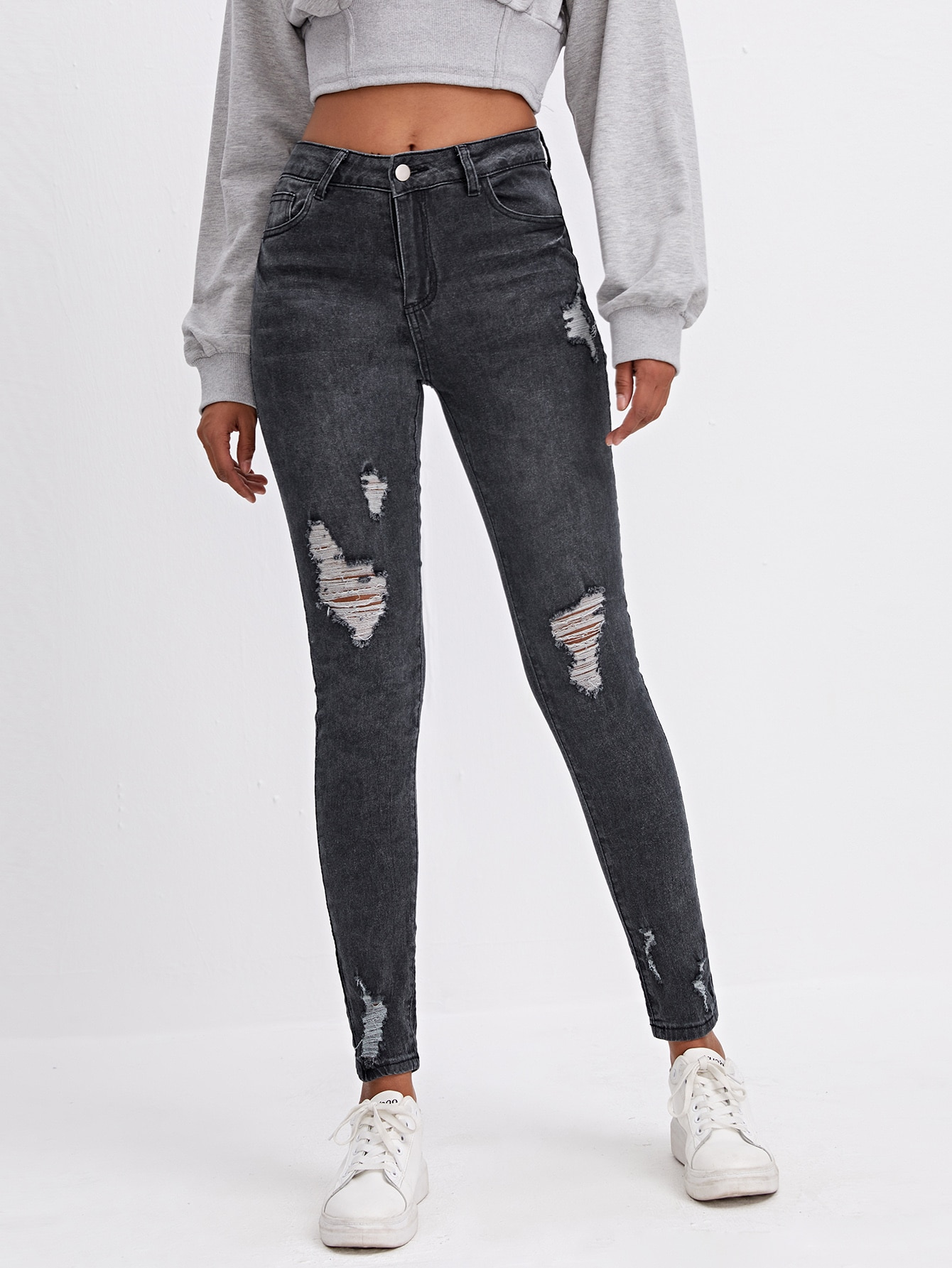 High Stretch Ripped Detail Skinny Jeans thumbnail