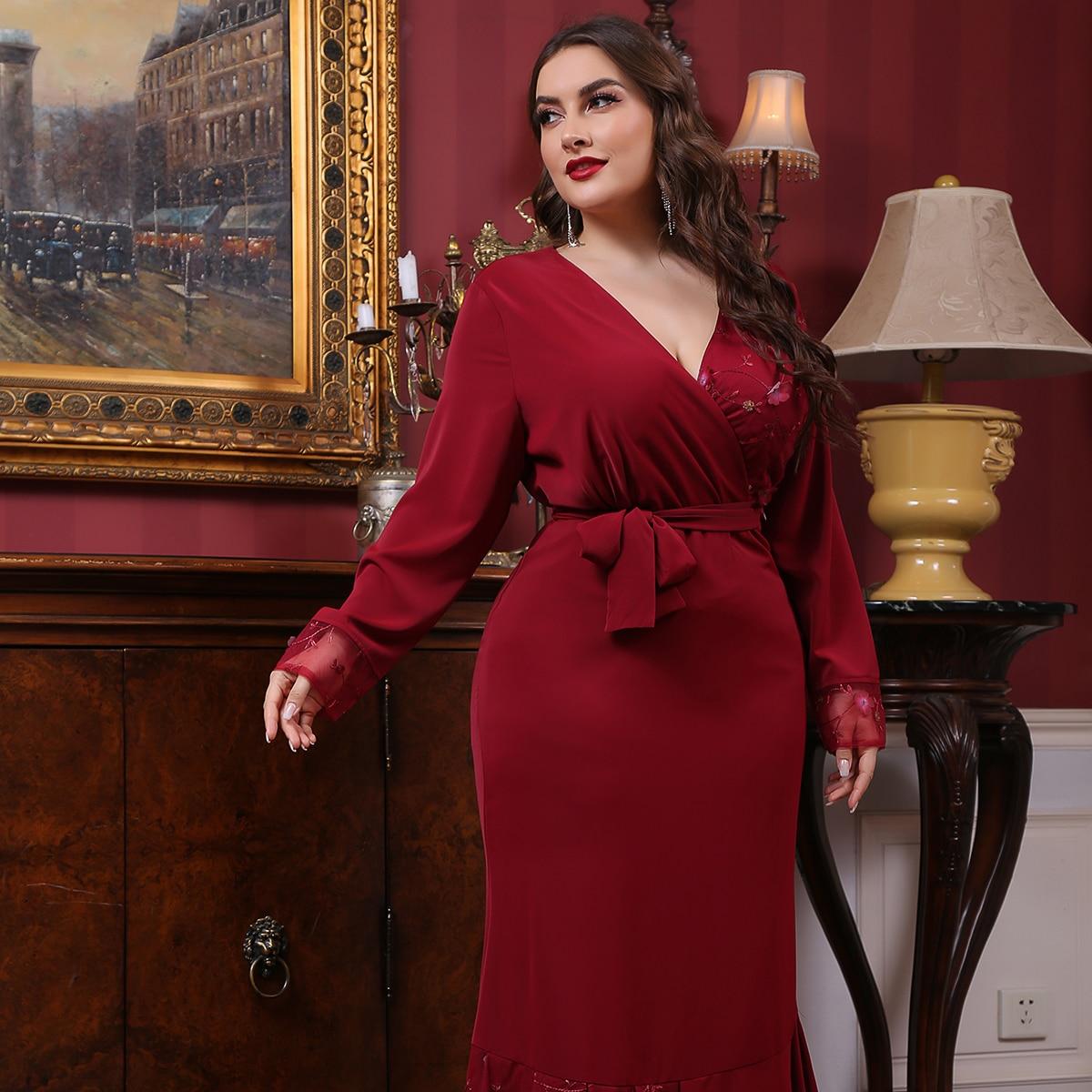 С оборками Одноцветный Очаровательный Платья размер плюс