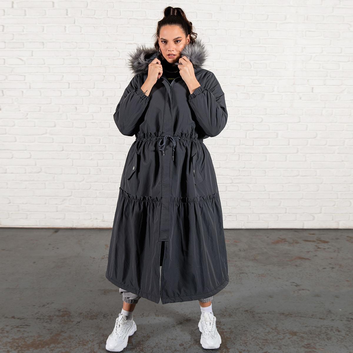 Ватное пальто-парка размера плюс на кулиске с капюшоном и искусственным мехом