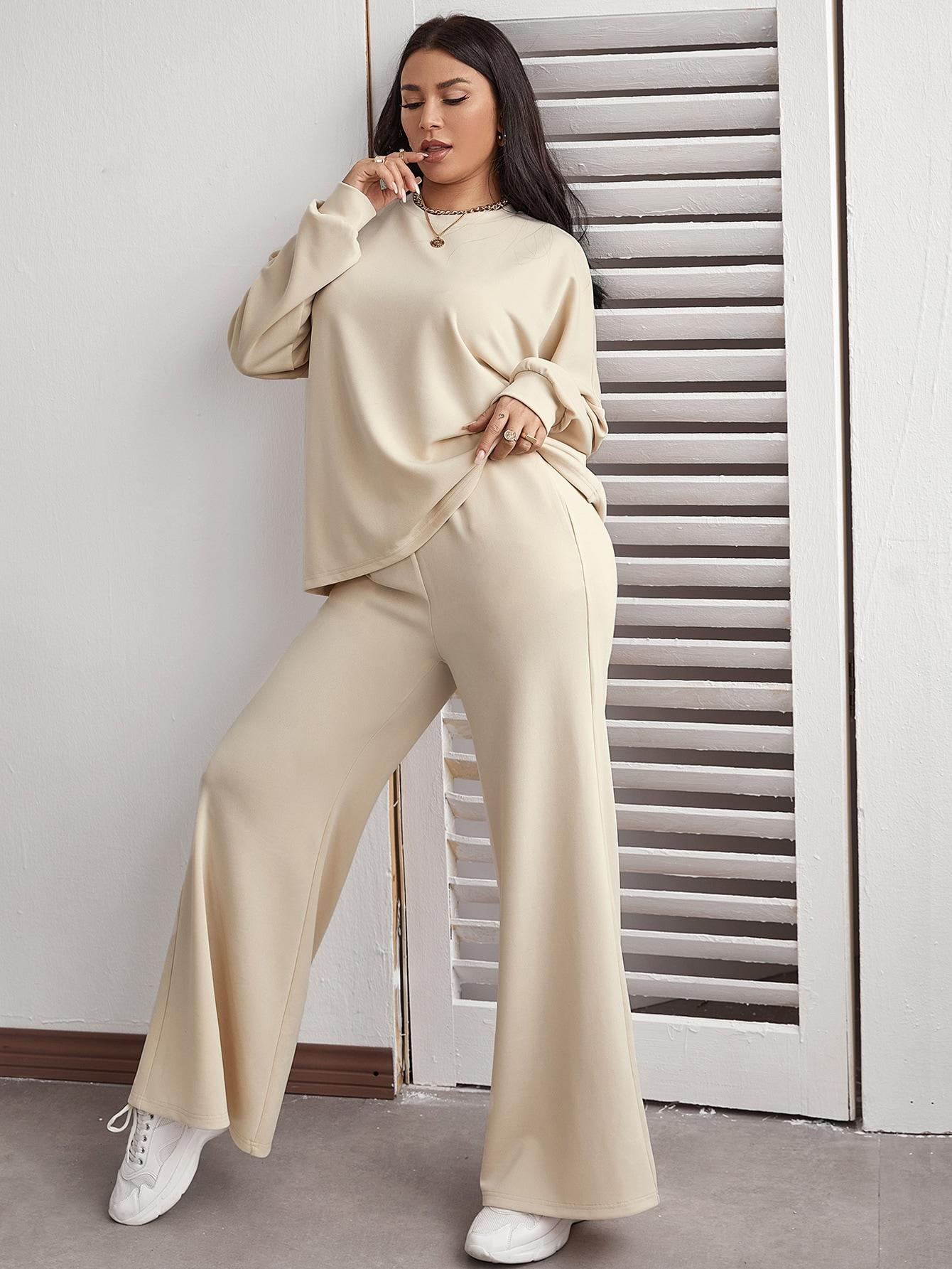 Drop Shoulder Oversize Top & Wide Leg Pants Set thumbnail