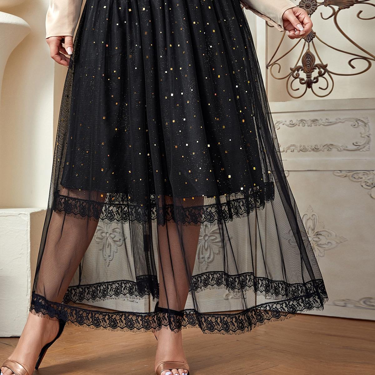 Сетчатая юбка размера плюс с блестками