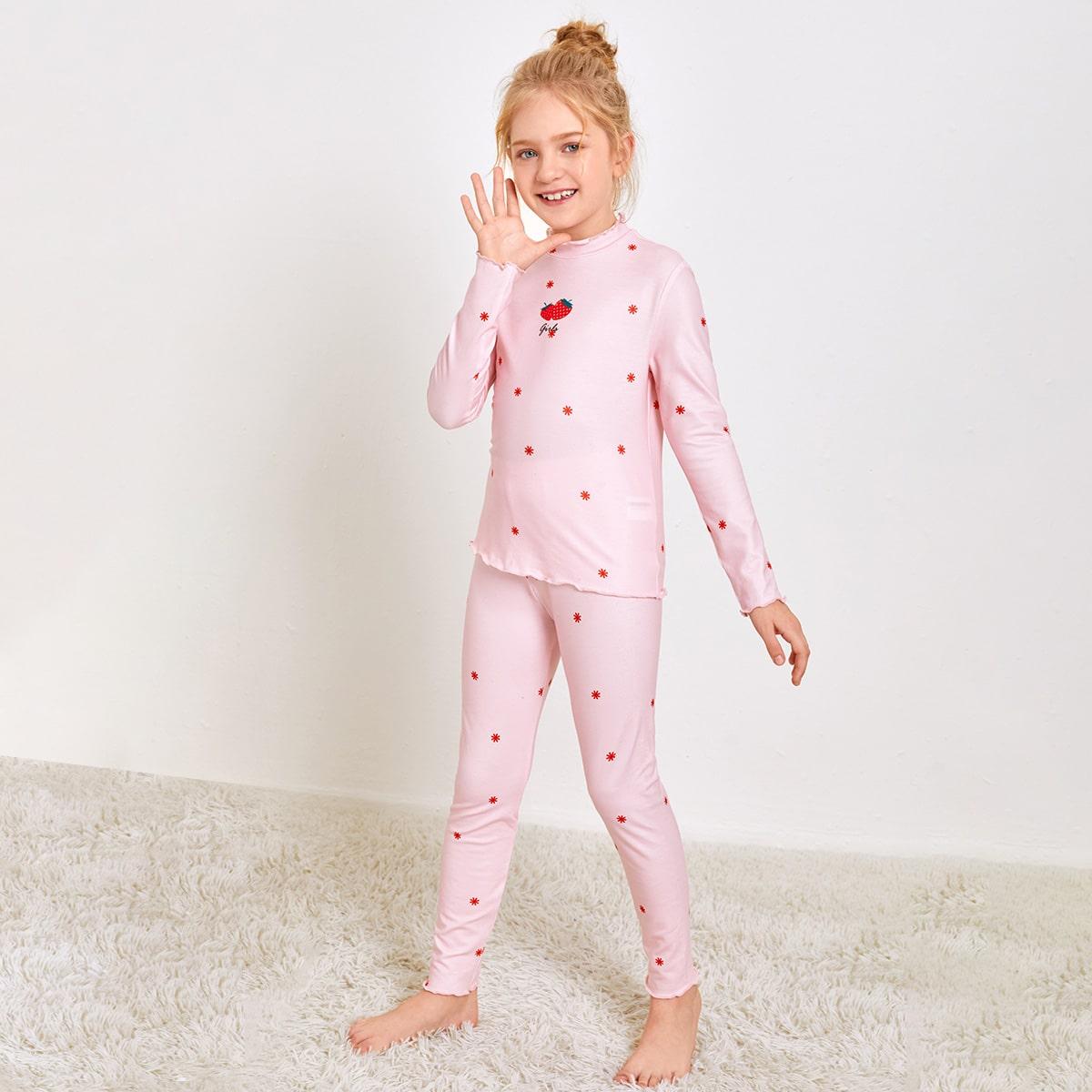 Пижама с принтом клубники для девочек