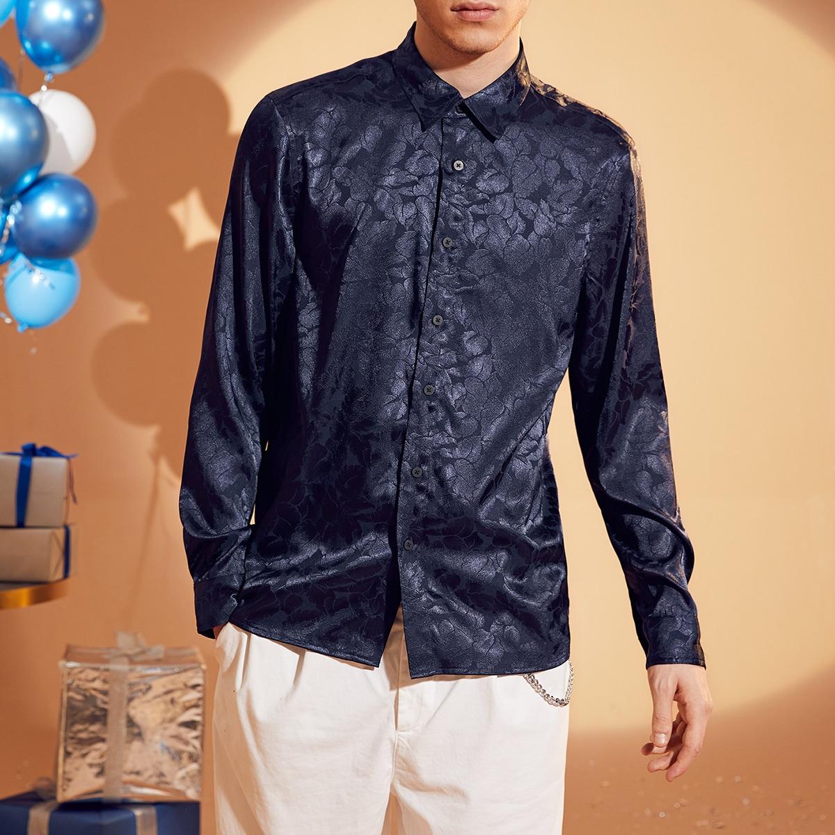 Пуговица цветочный вечеринка мужские рубашки