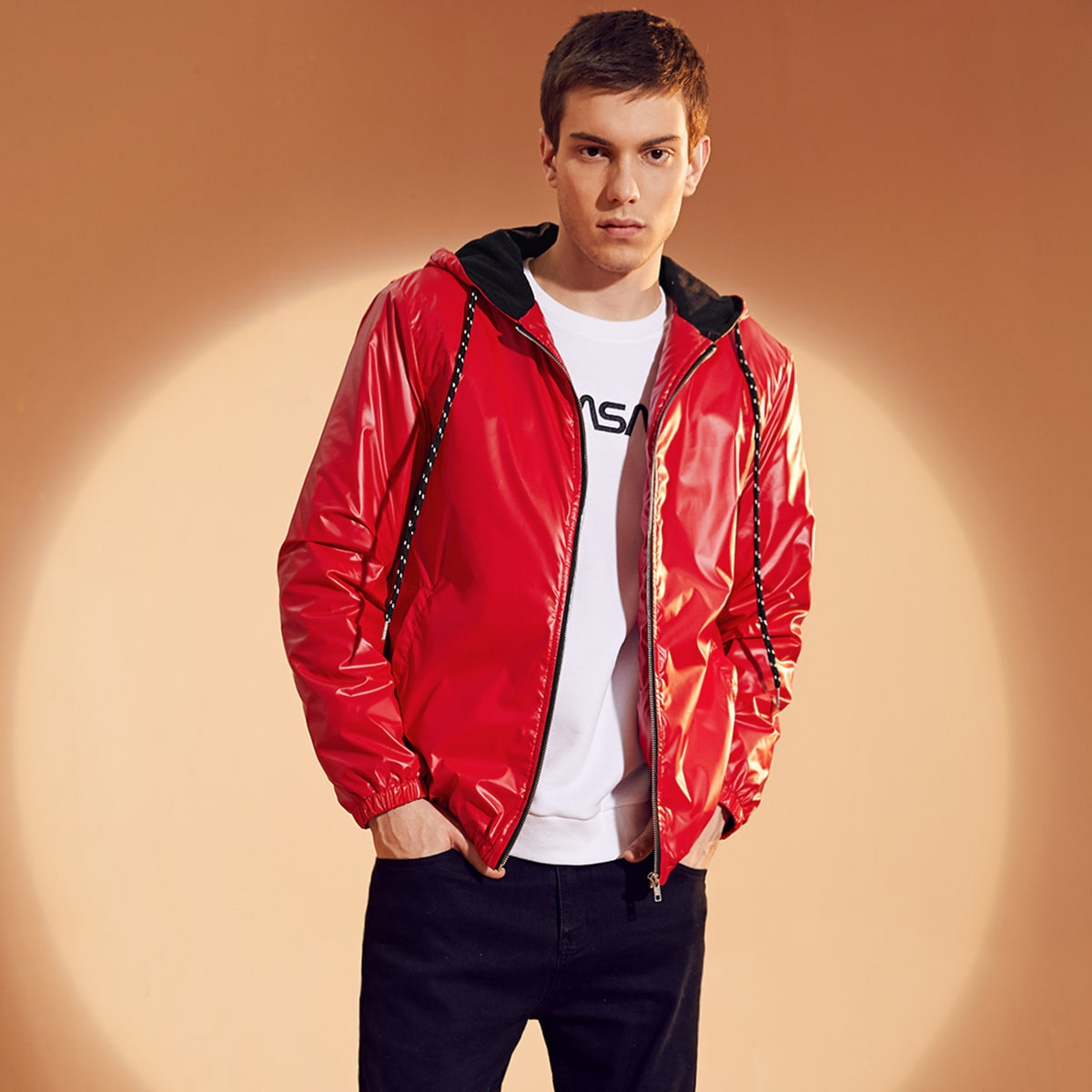 Men Pocket Front Wind Puffer Jacket