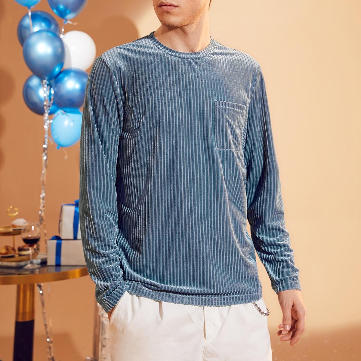 Мужская бархатная футболка с передним карманом