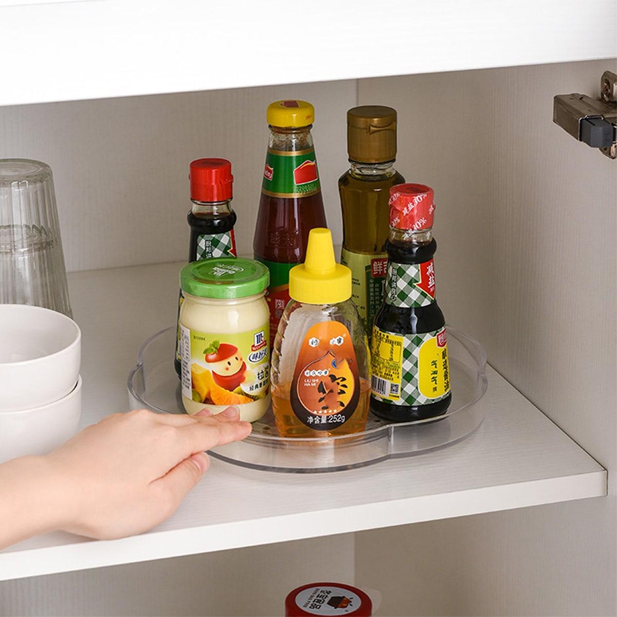 1шт кухонный прозрачный вращающийся поднос
