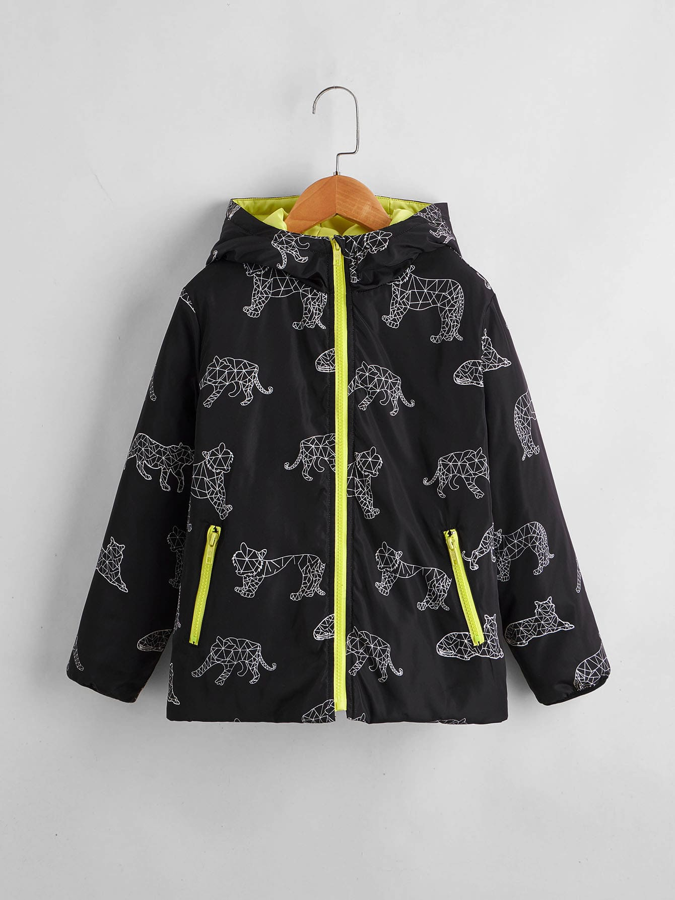 Boys Leopard Print Wind Puffer Jacket