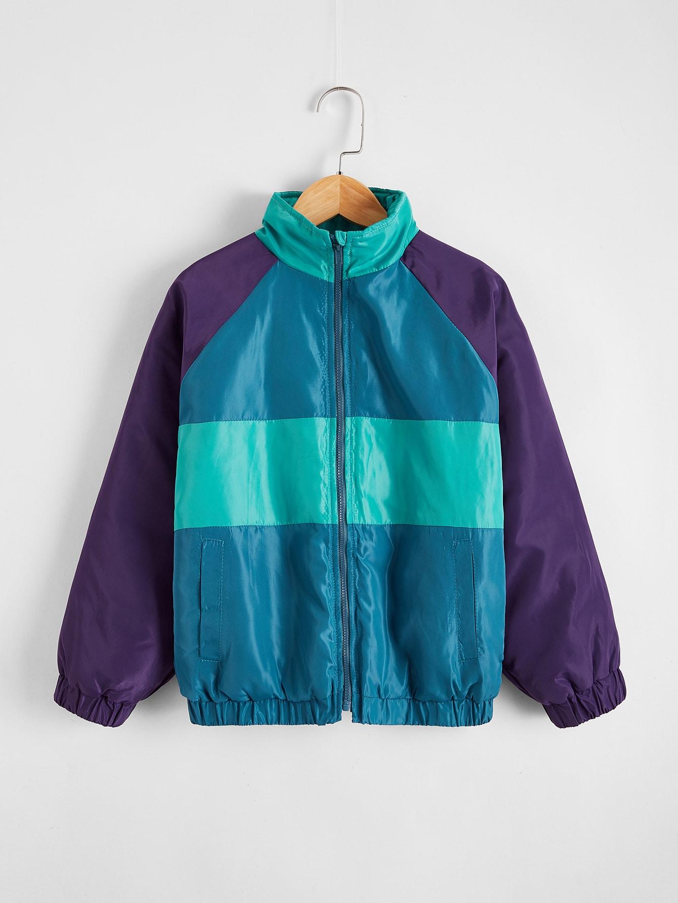 Boys Colorblock Zipper Placket Wind Jacket