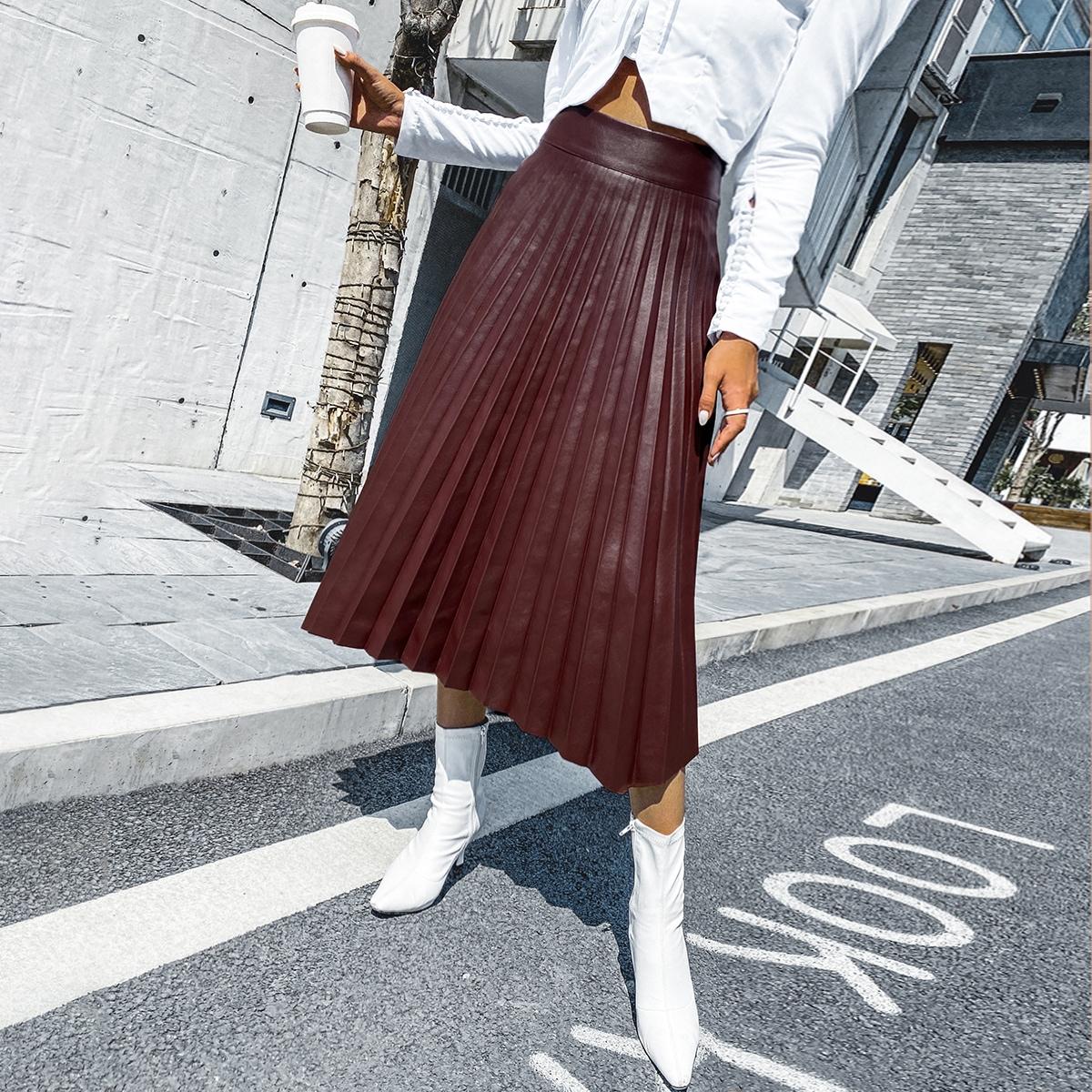 Pleated Asymmetrical Hem PU Skirt