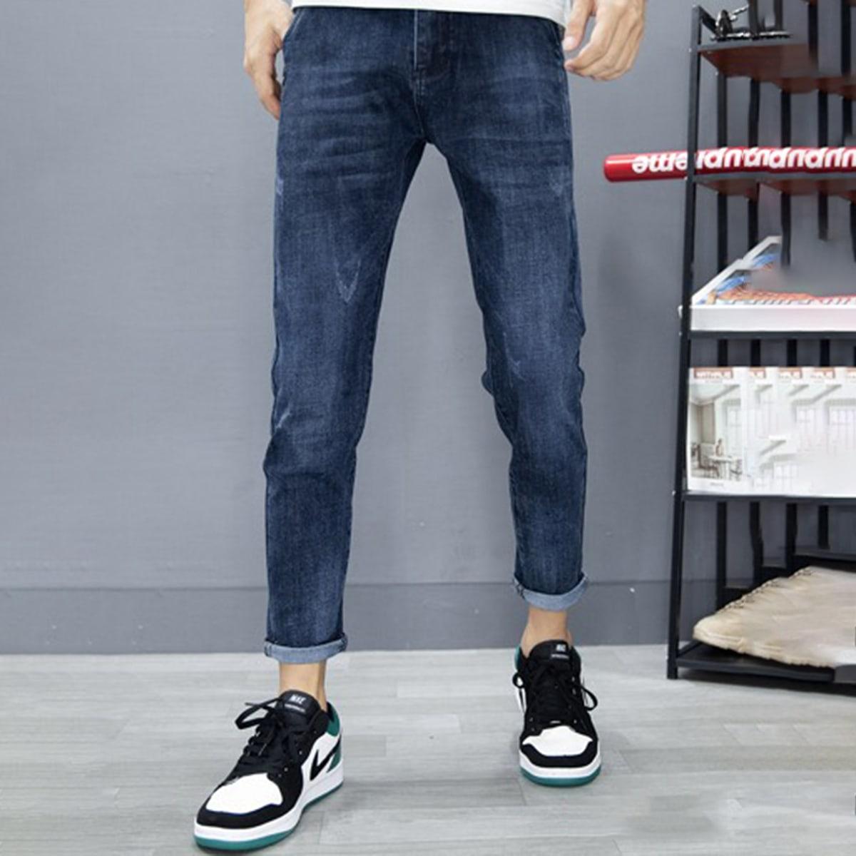 Карман буква повседневный мужские джинсы