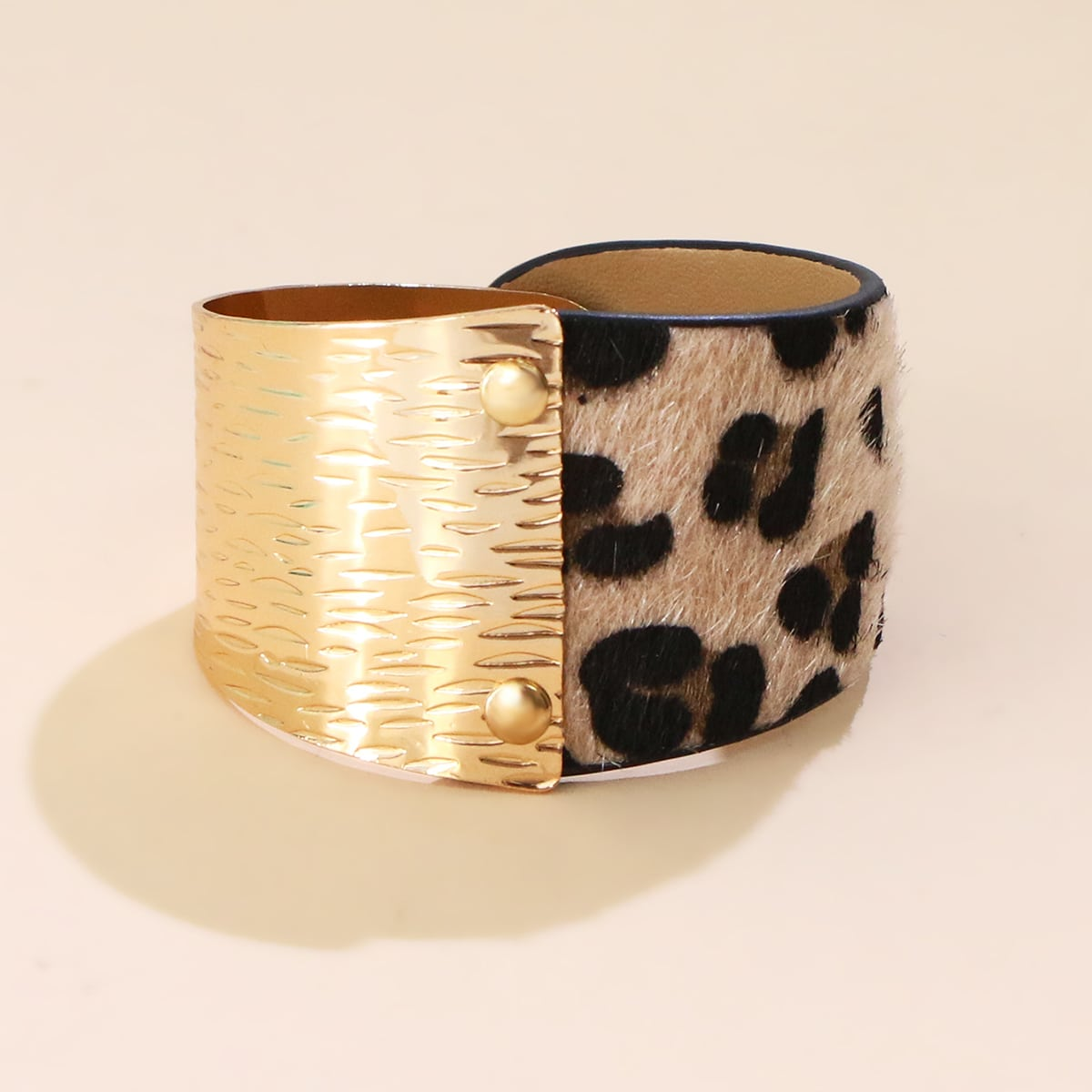 Leopard Pattern Textured Metal Wide Belt