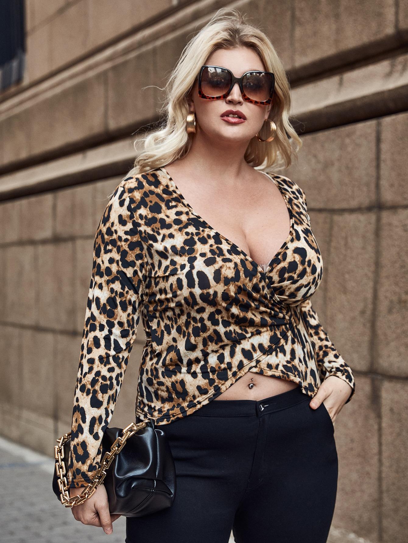 plus leopard print wrap blouse