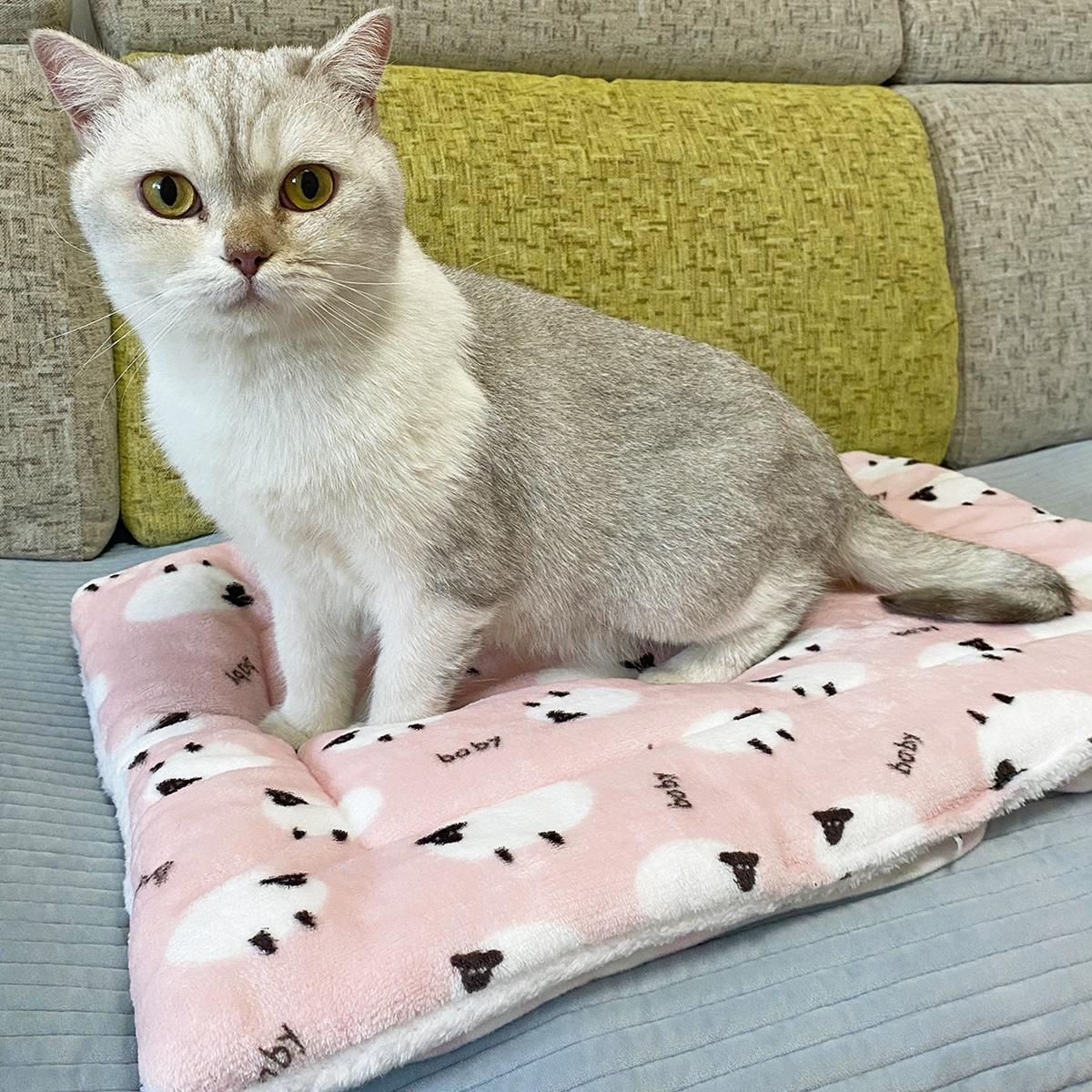 Tapis de chat à imprimé mouton