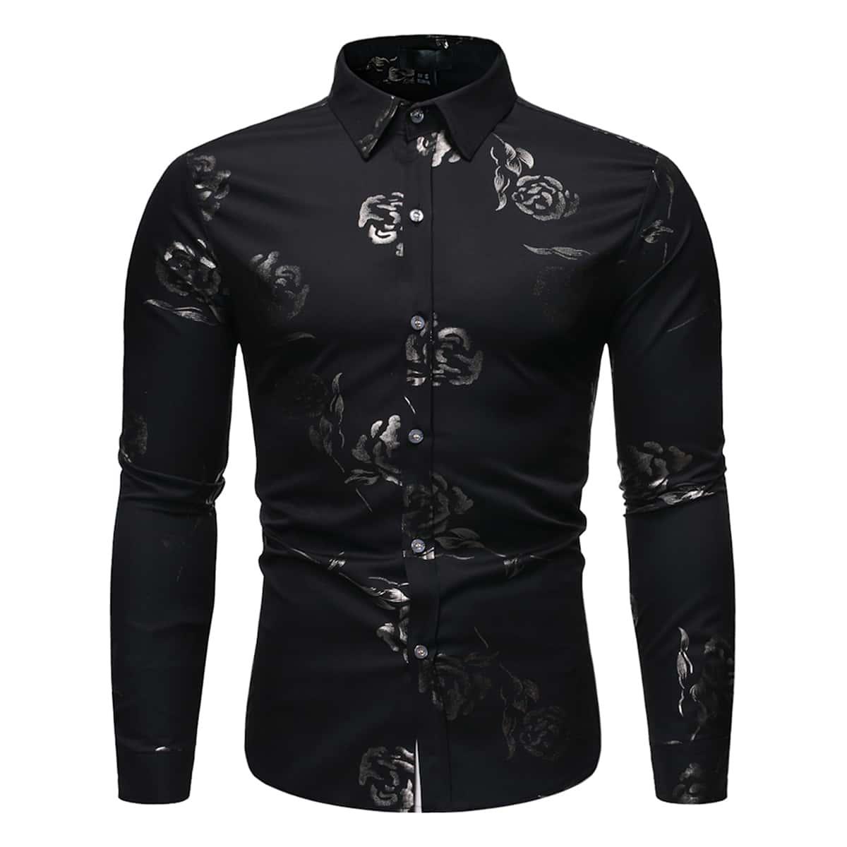 Мужская Рубашка С Пуговицами И Графическим Принтом