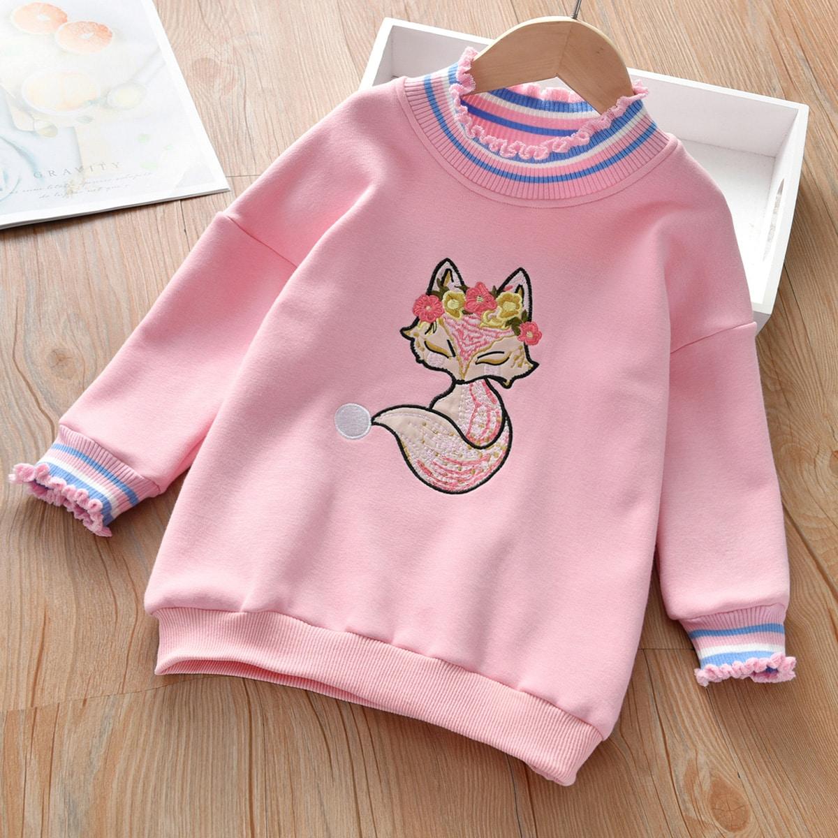 Свитшот с вышивкой лисы для девочек