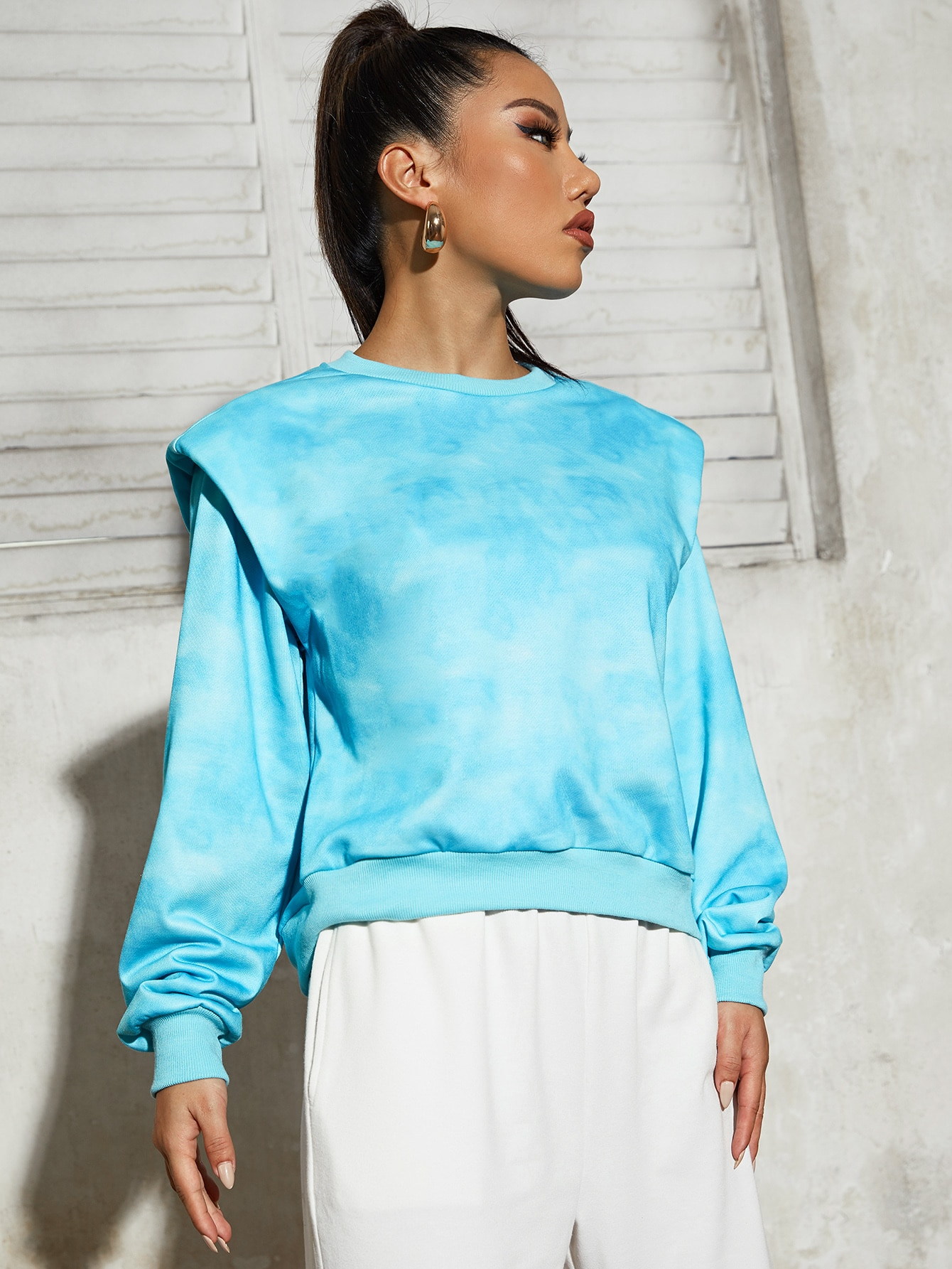Tie Dye Shoulder Padded Pullover thumbnail