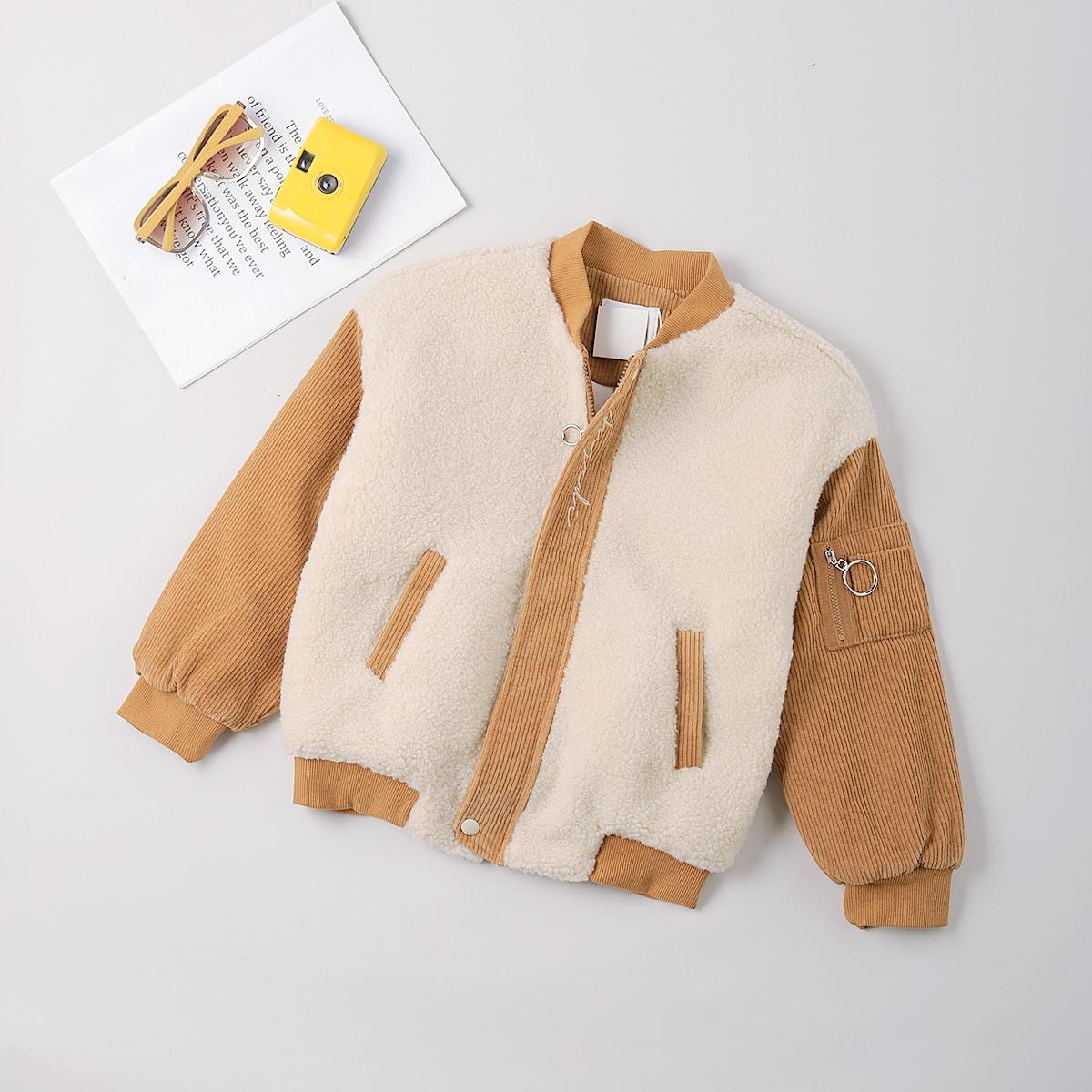 Плюшевая куртка бомбер с текстовой вышивкой для мальчиков