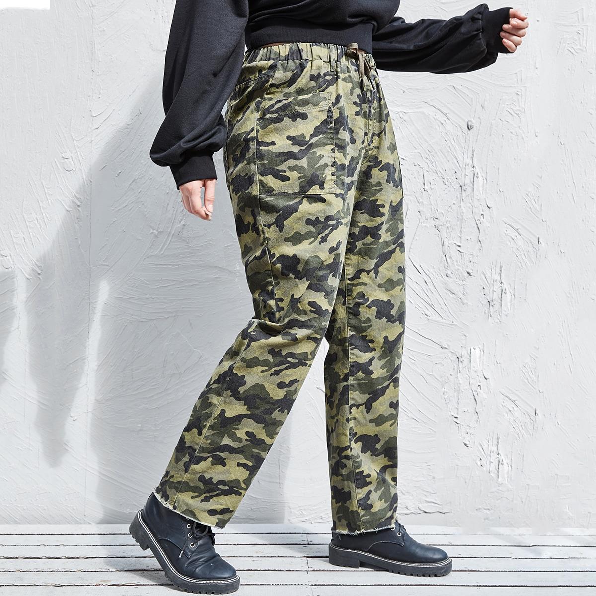 С карманами камуфляж джинсы размер плюс