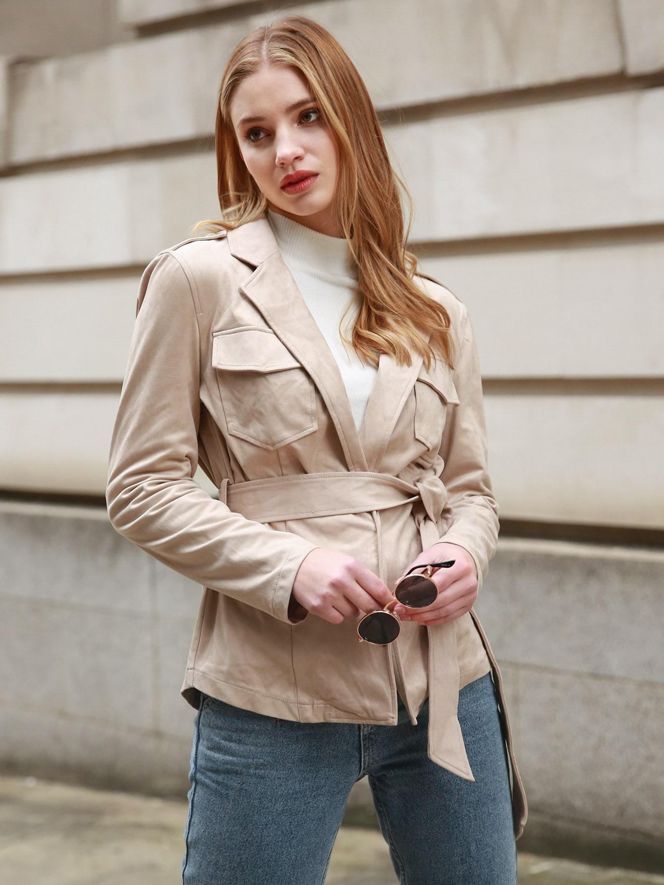 Lapel Collar Flap Pocket Belted Suede Coat thumbnail