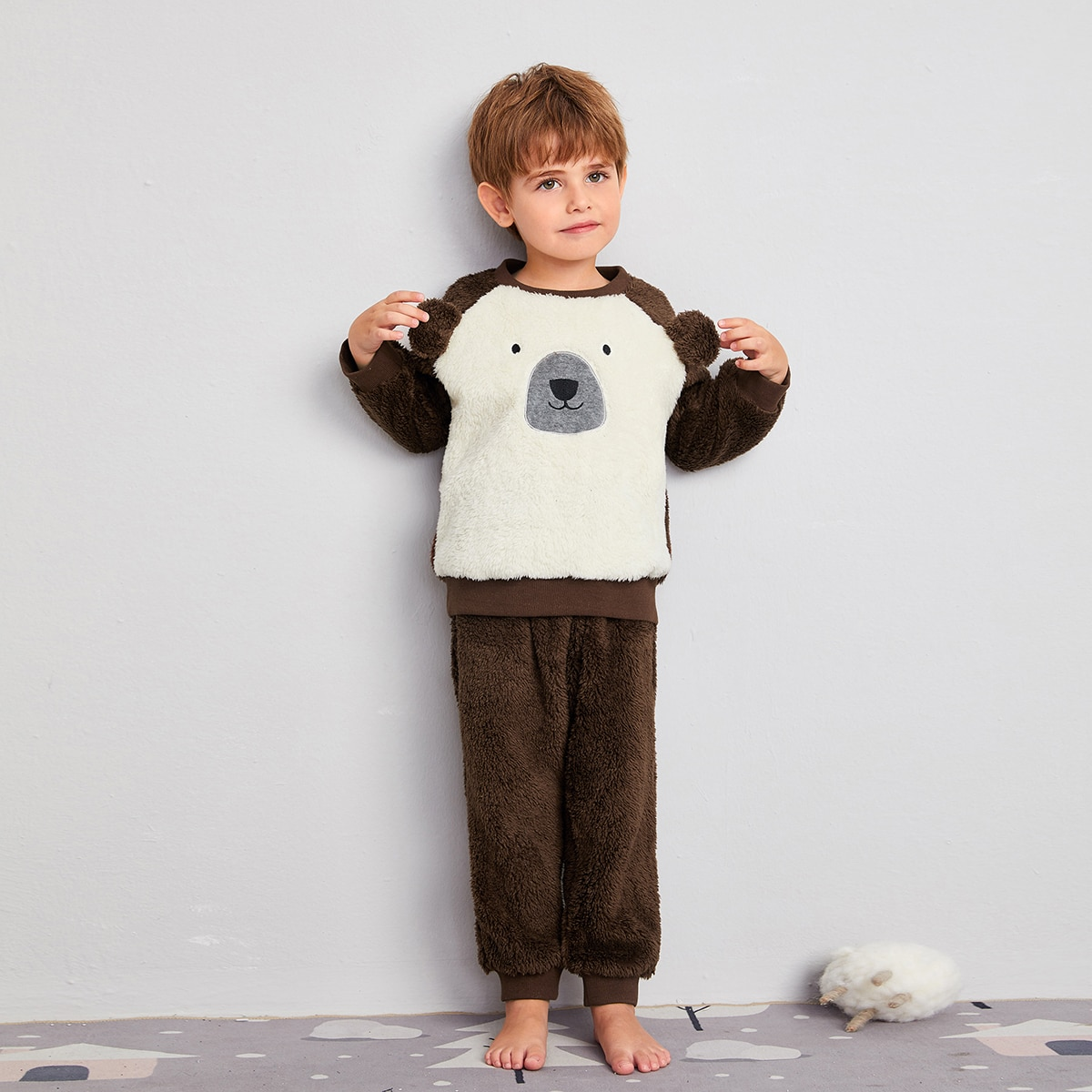 С вышивкой мультяшный принт милый домашняя одежда для мальчиков