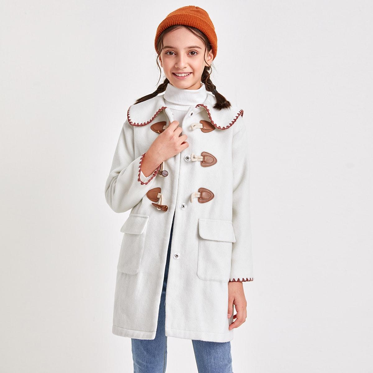 Mantel mit ausgefranstem Saum und Taschen Klappen vorn