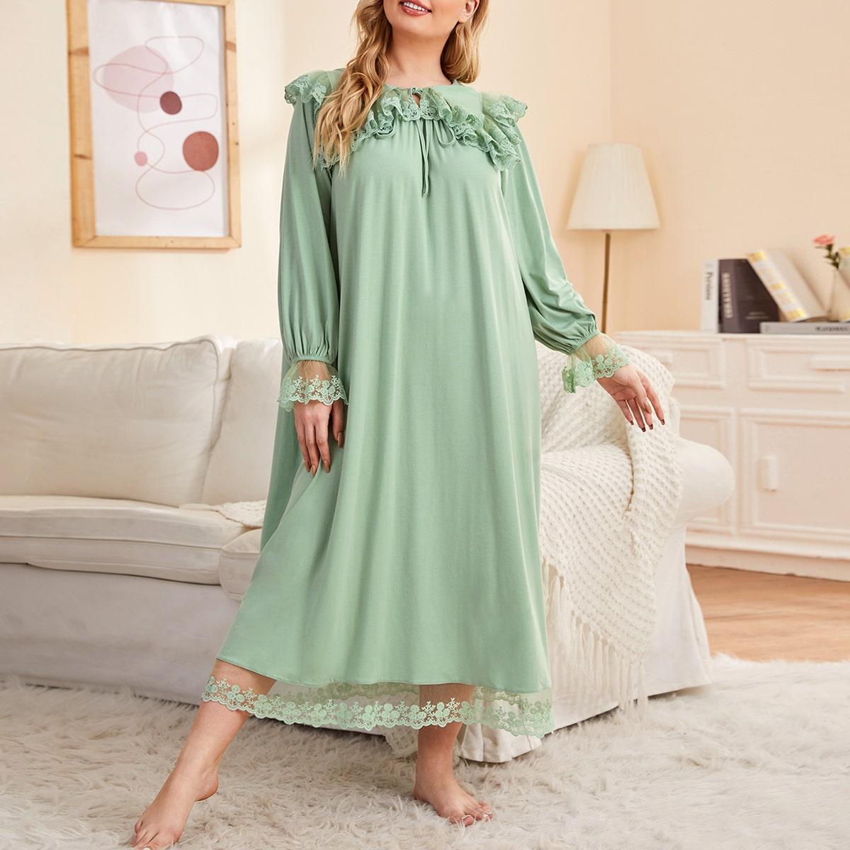 Ночная рубашка размера плюс с вышивкой и воротником-бантом