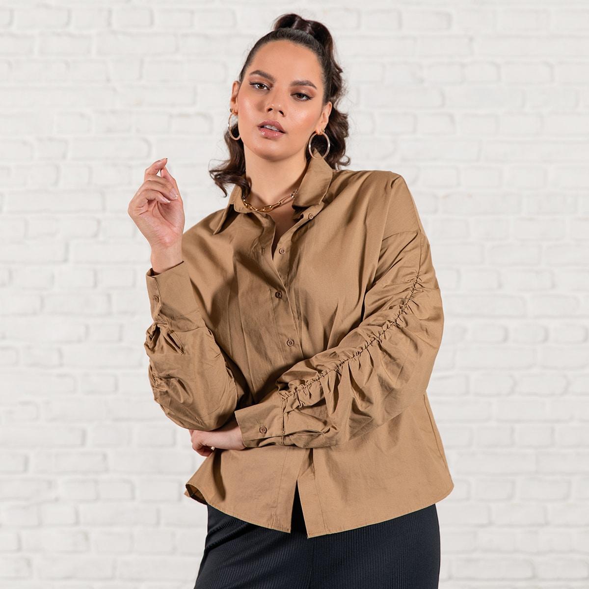 Однотонная блузка размера плюс с оригинальным рукавом