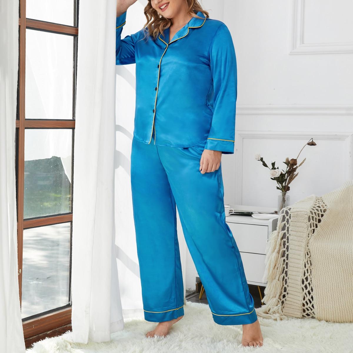Атласная пижама размера плюс с контрастной отделкой
