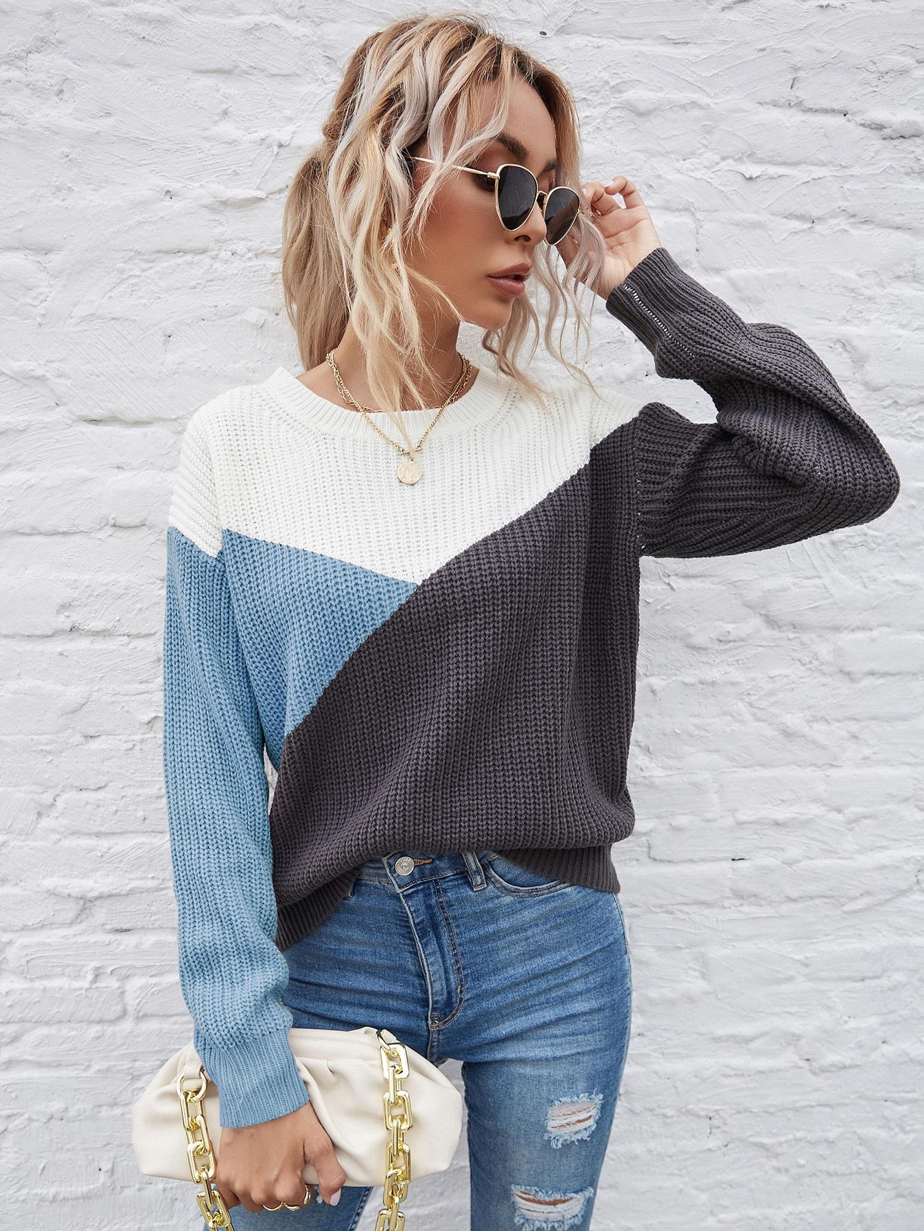 Color Block Drop Shoulder Sweater thumbnail