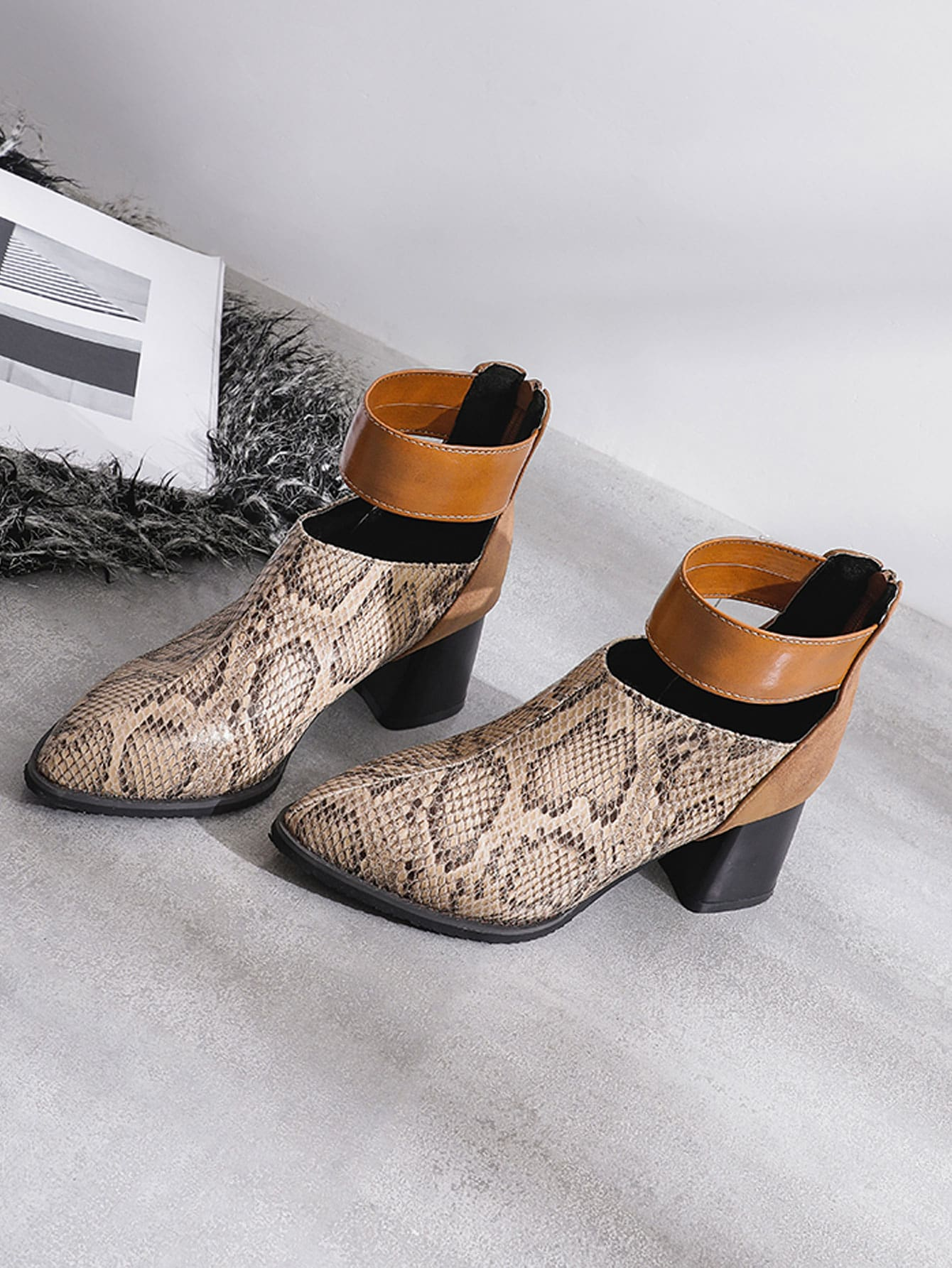 Snakeskin Print Chunky Ankle Boots