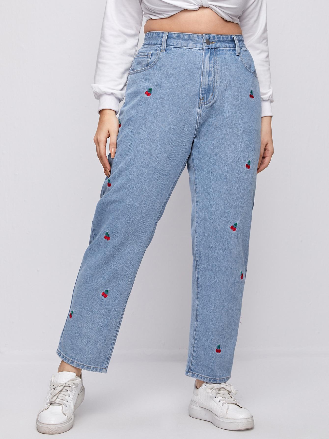Plus High Waist Cherry Embroidery Straight Leg Jeans thumbnail