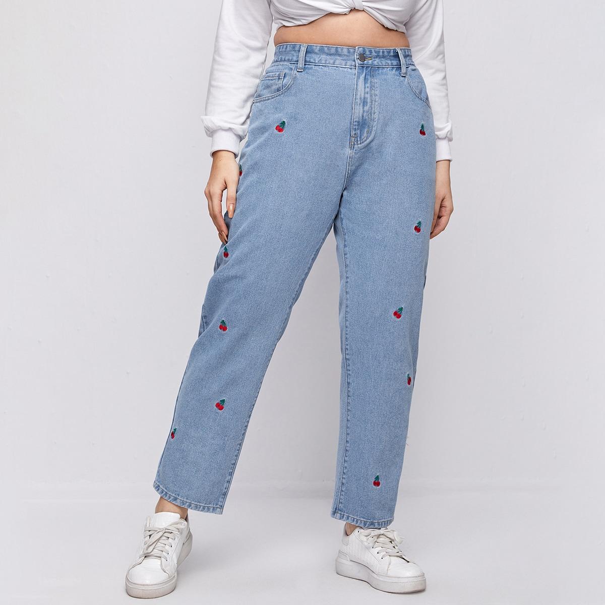 Прямые джинсы размера плюс с высокой талией и вышивкой