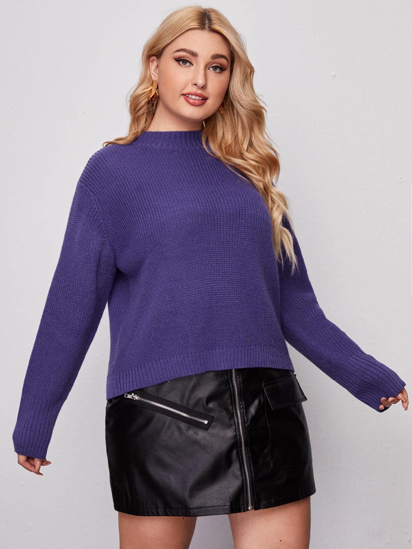 Plus Drop Shoulder Ribbed Knit Sweater thumbnail