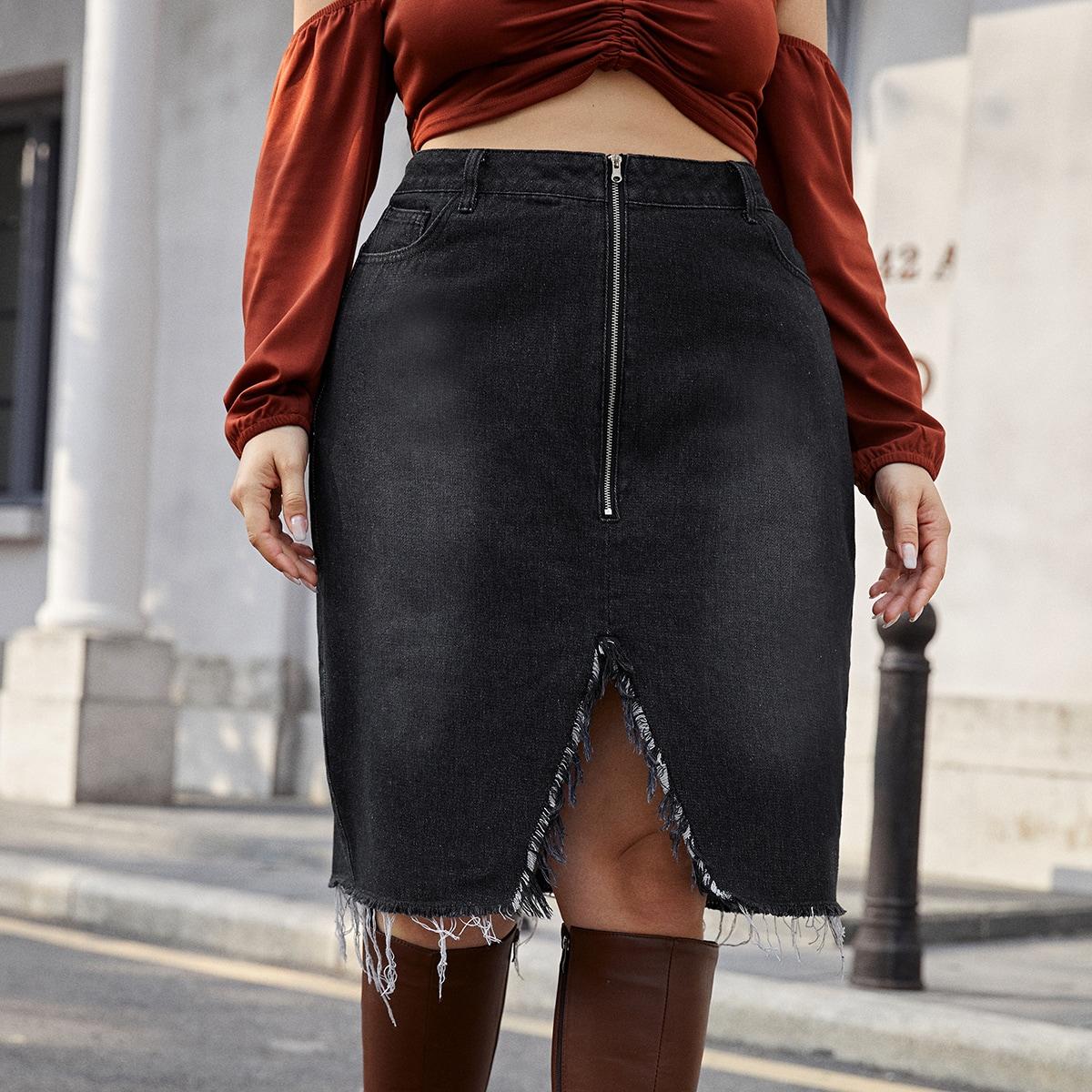 Асимметричная джинсовая юбка размера плюс с молнией