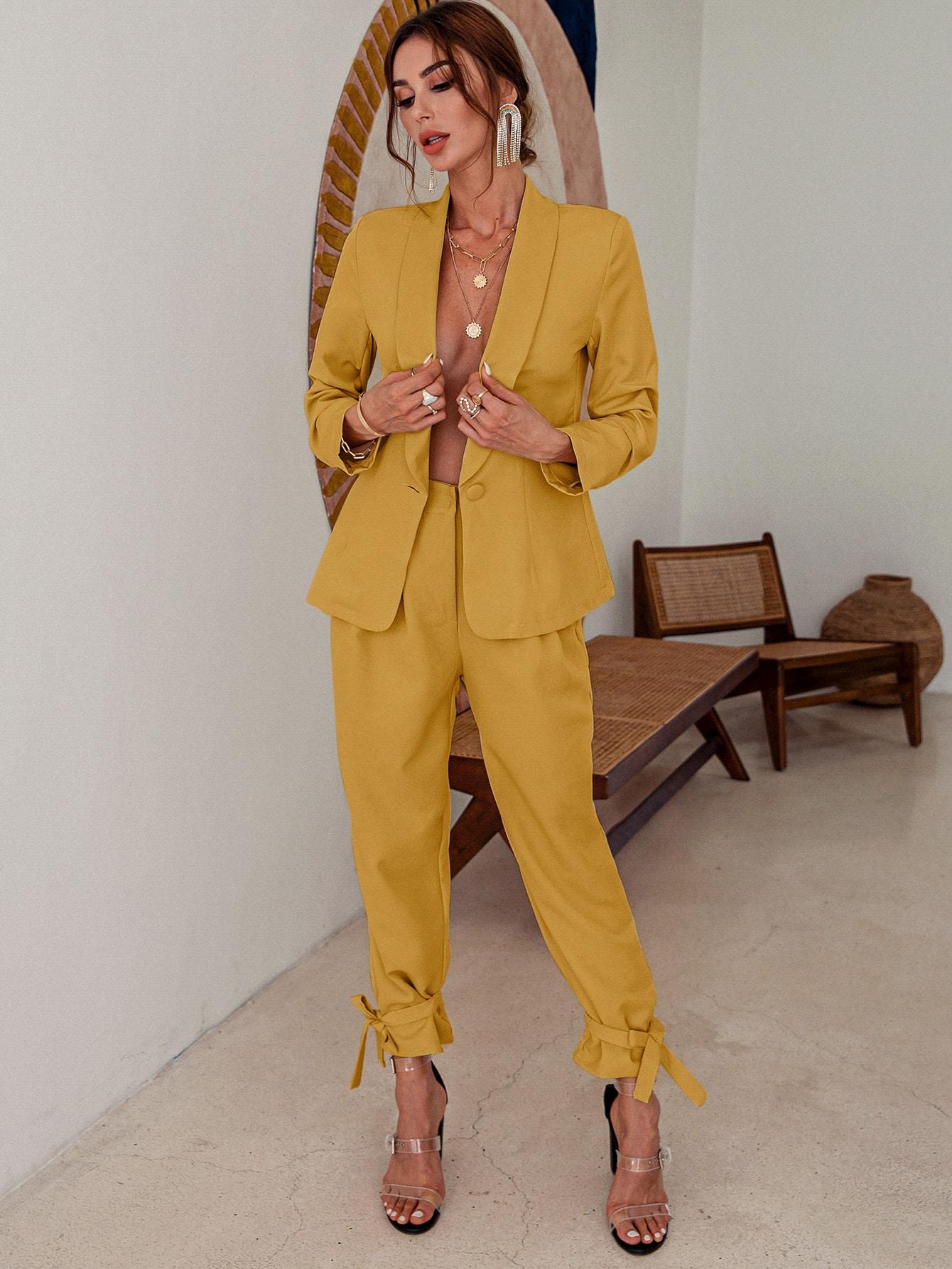 Single Button Shawl Collar Blazer & Knot Pants Set thumbnail