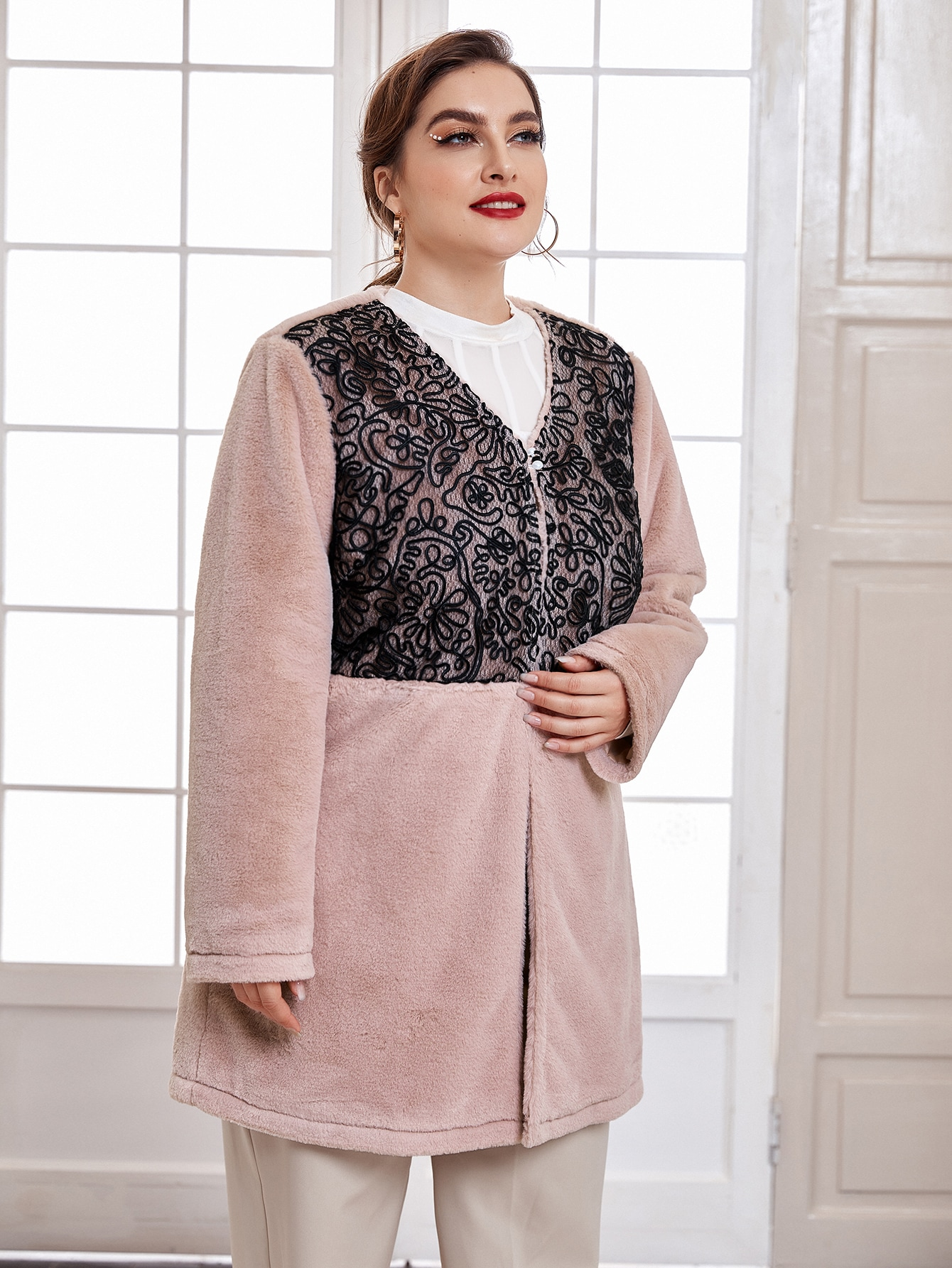 Plus Lace-overlay Button Flannel Coat thumbnail