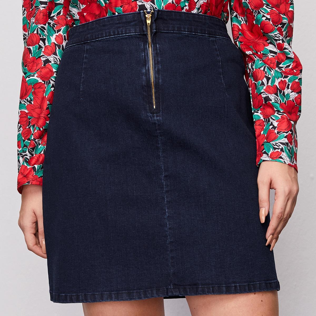 Джинсовая юбка размера плюс с высокой талией